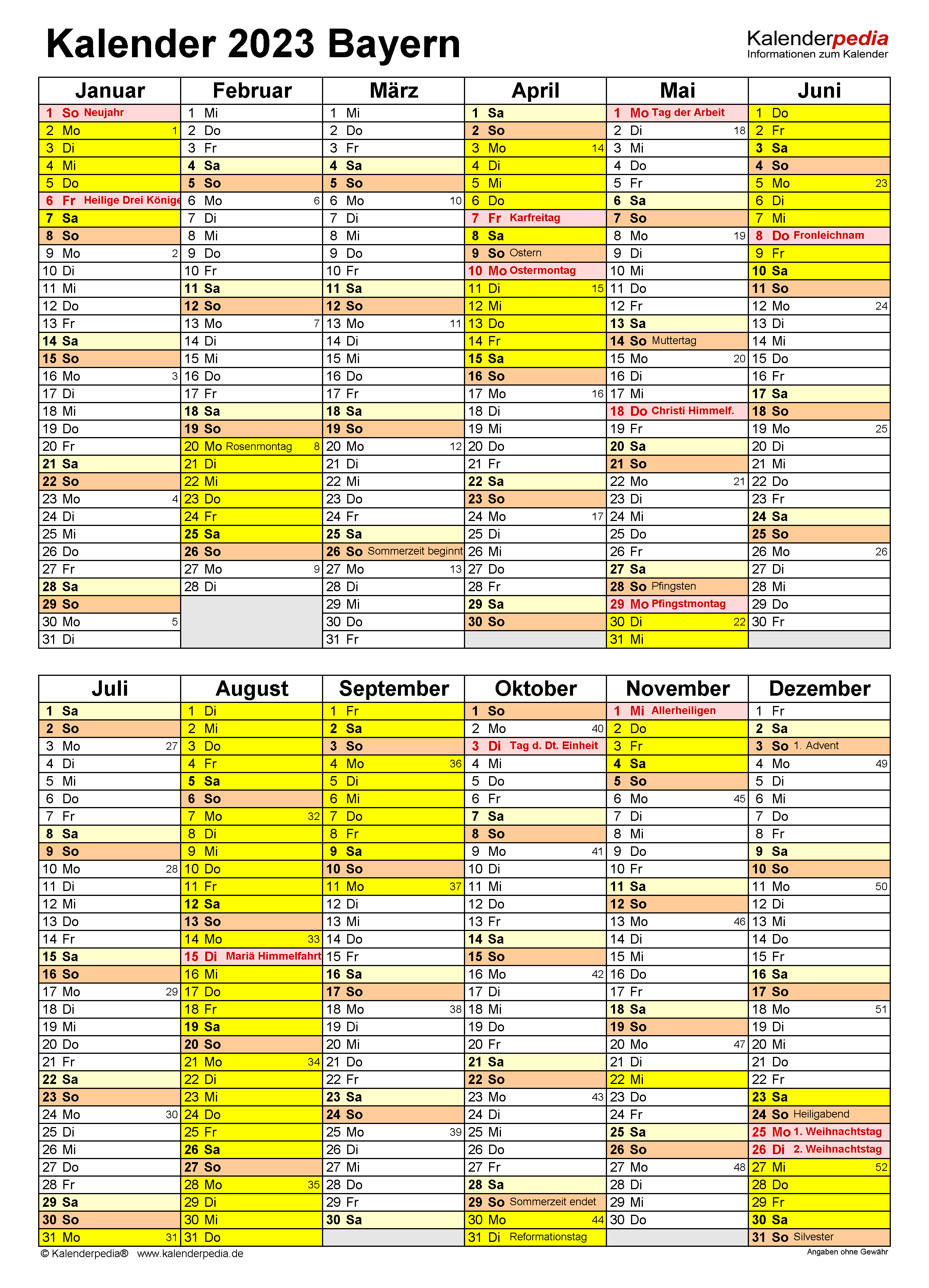 Kalender 2021 Bayern A4 Zum Ausdrucken : KALENDER 2020 ZUM ...