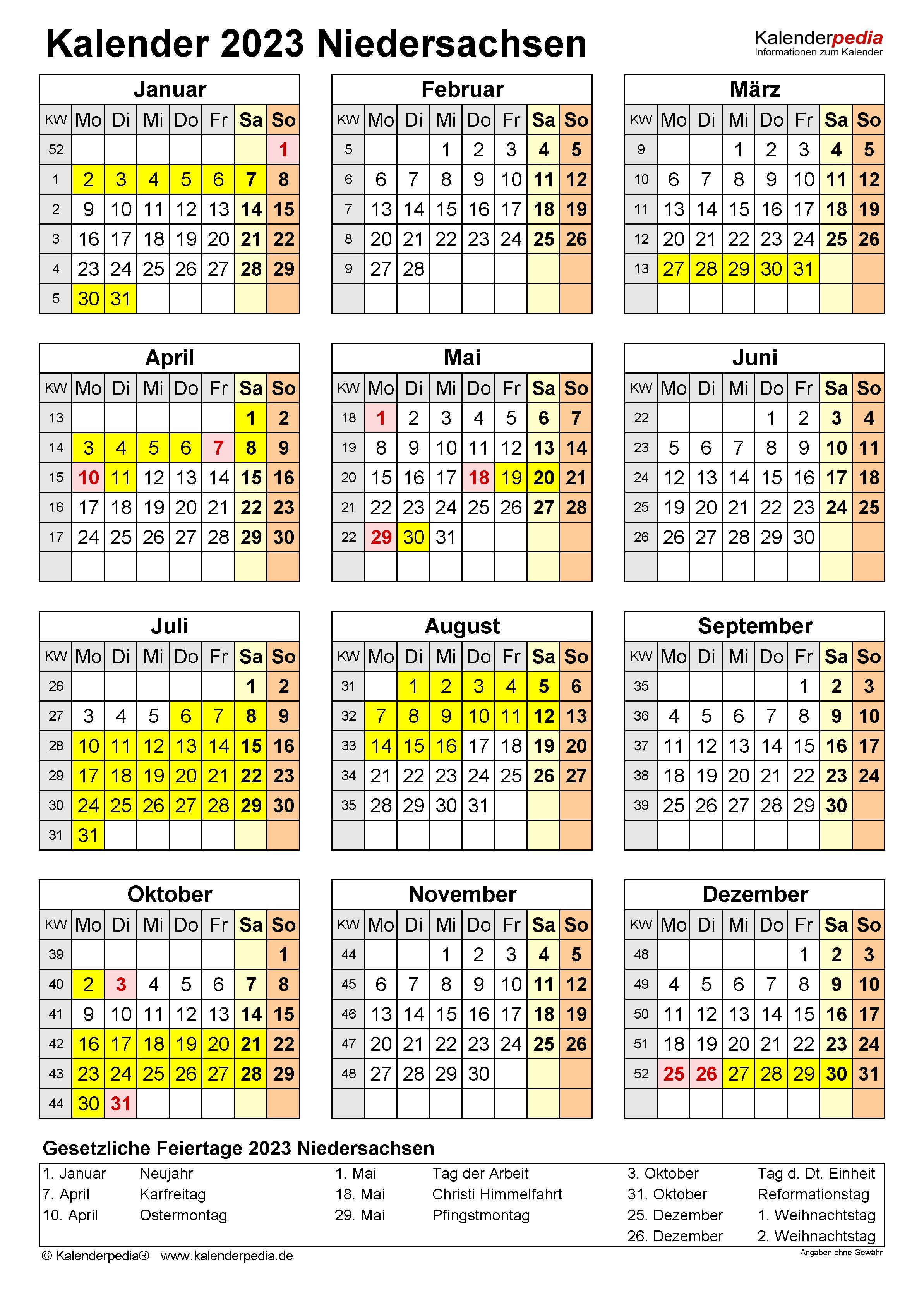 Kalender 2023 Niedersachsen: Ferien, Feiertage, PDF-Vorlagen