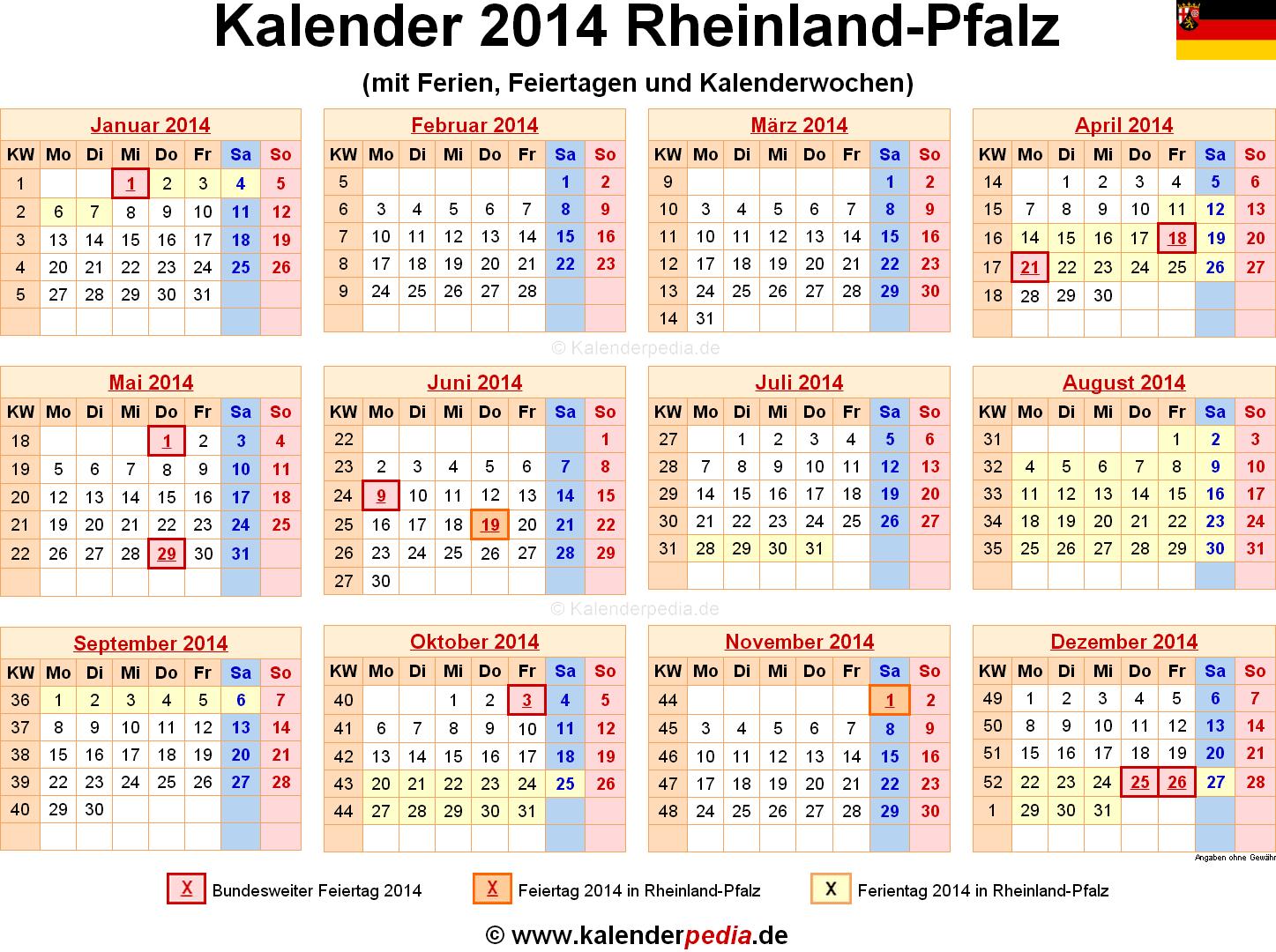 Kalender 2014 Rheinland-Pfalz: Ferien, Feiertage, Excel