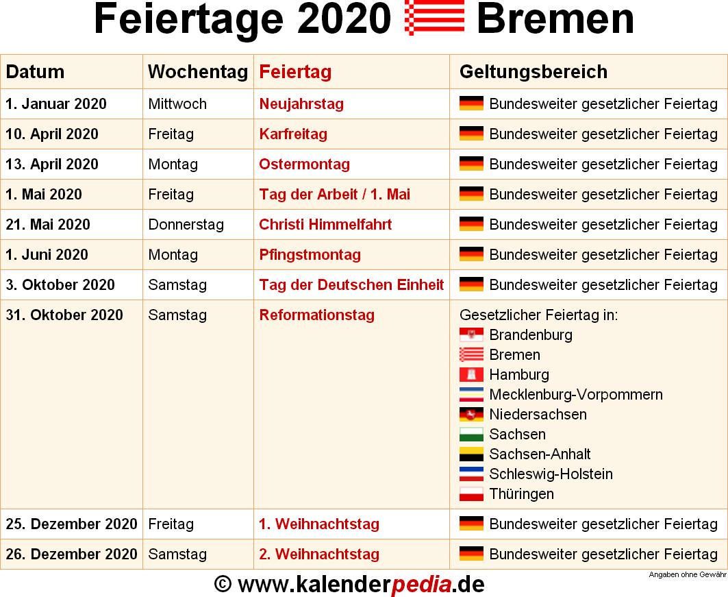 ferien bremen 2020