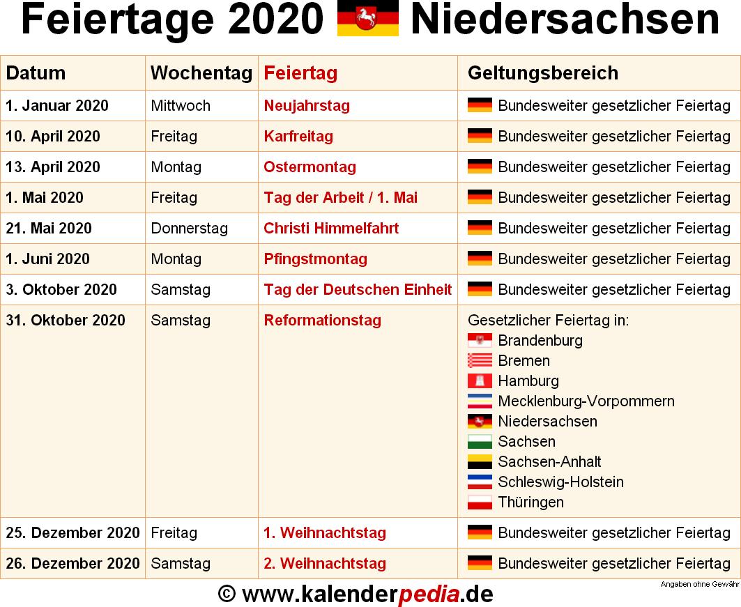 Feiertage Mai 2020 Niedersachsen