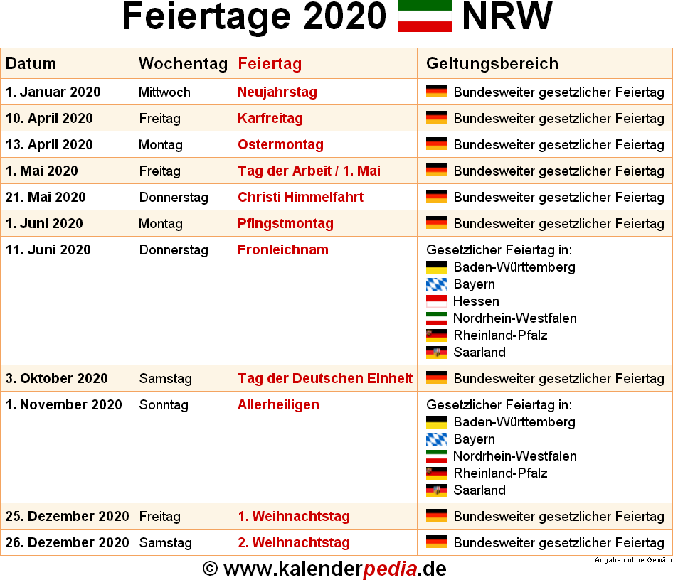 Freie Tage Nrw 2021