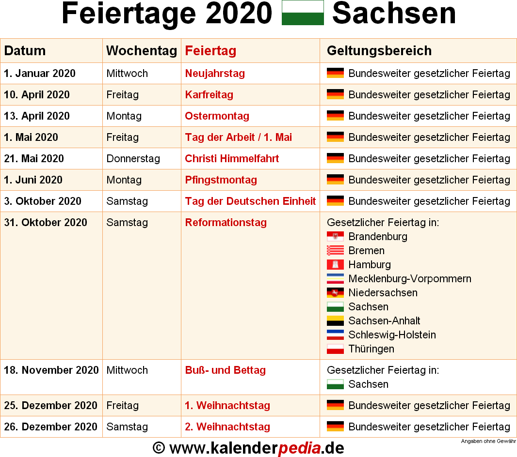 Feiertage November Sachsen