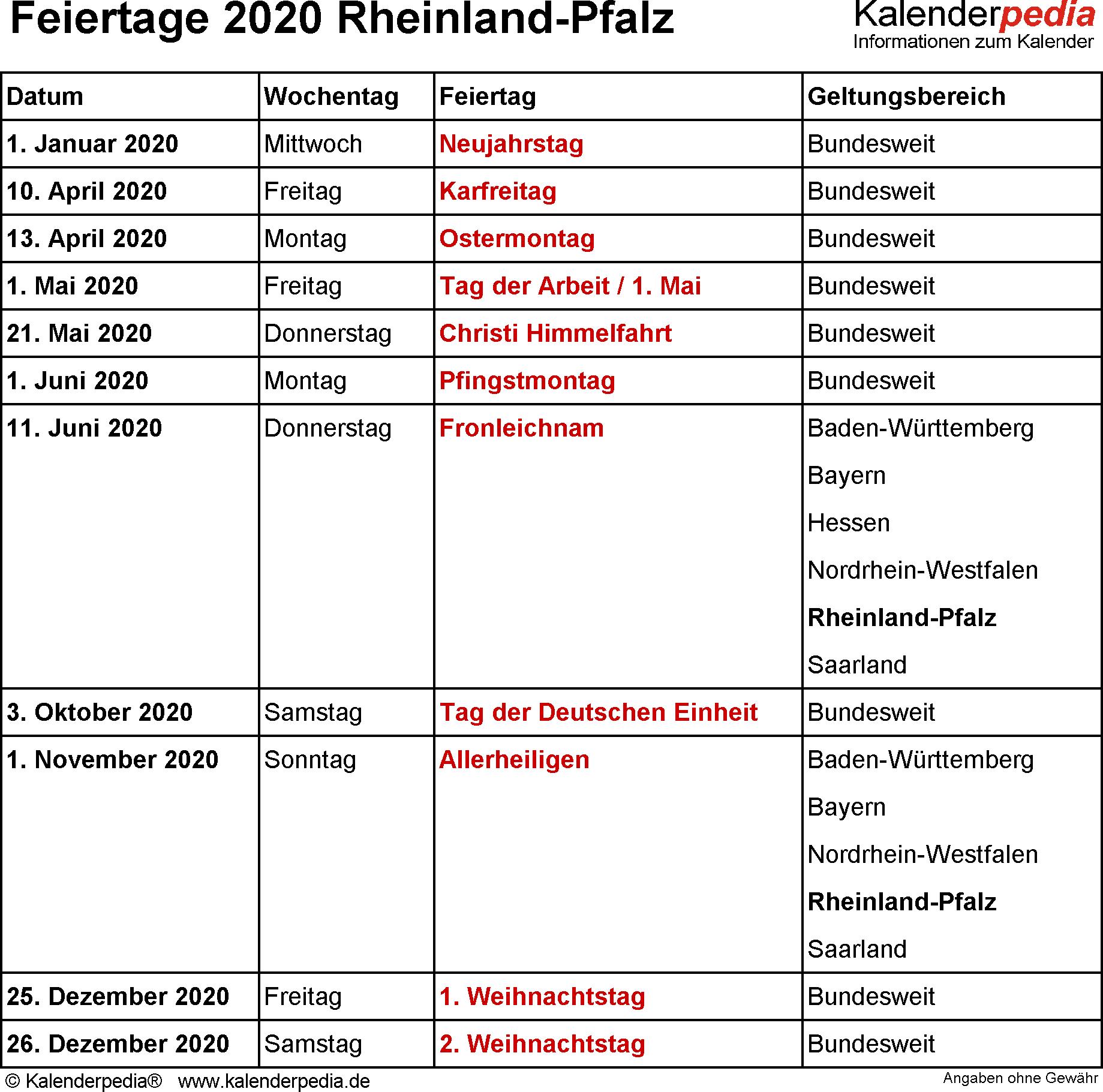 Feiertage 2020 Rlp