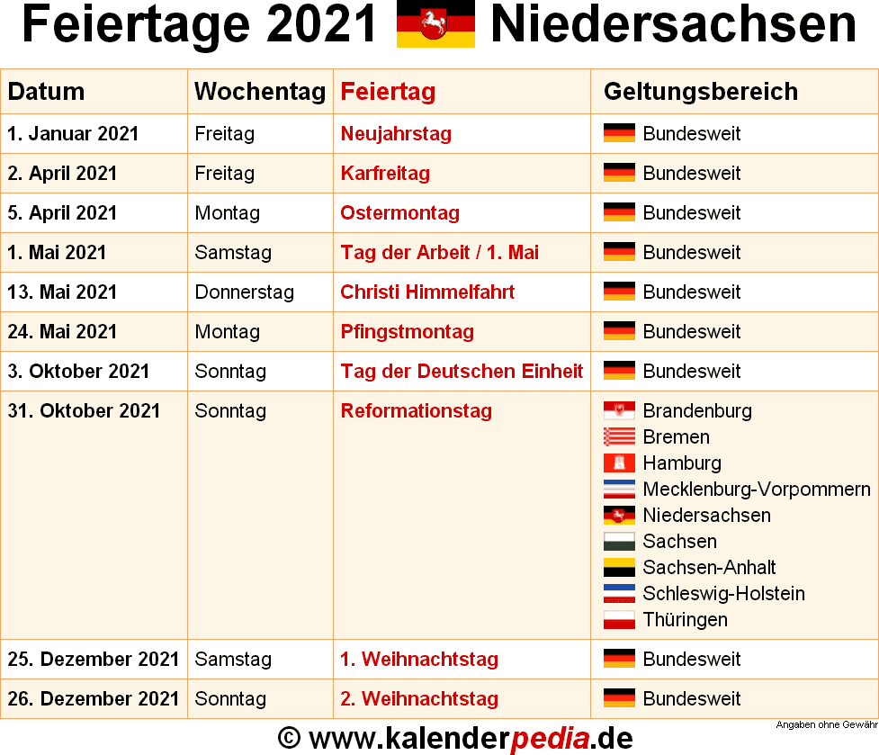 Feiertag 2021 Niedersachsen