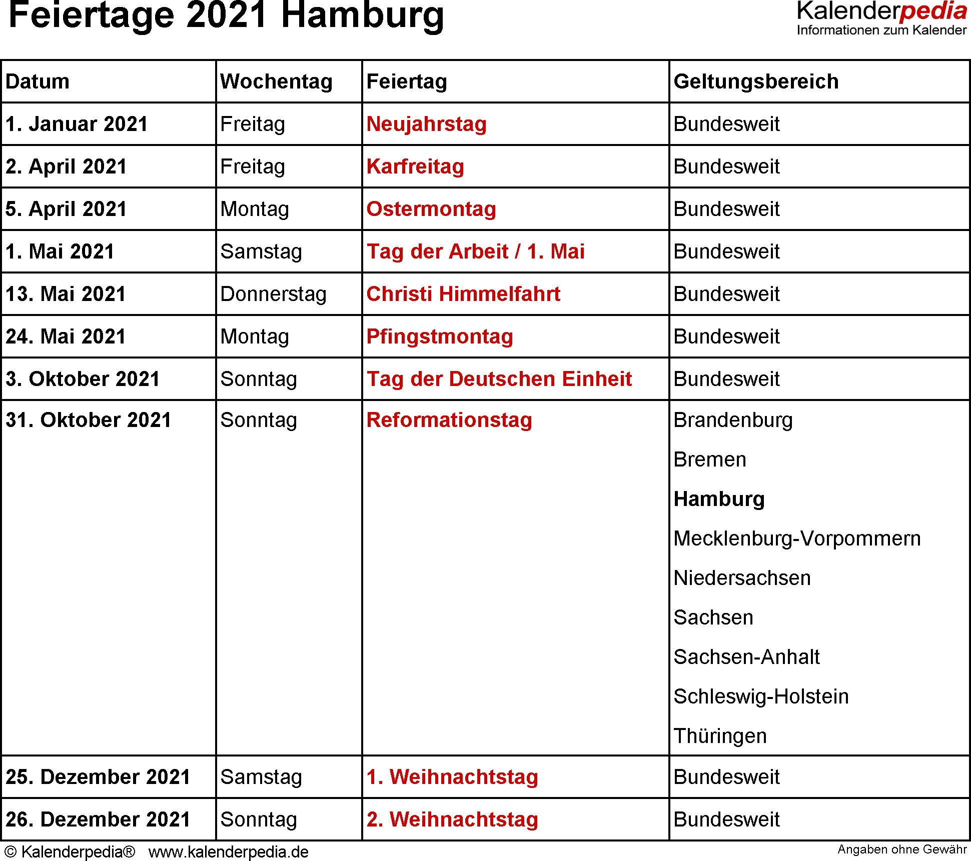 Feiertag Hamburg 2021