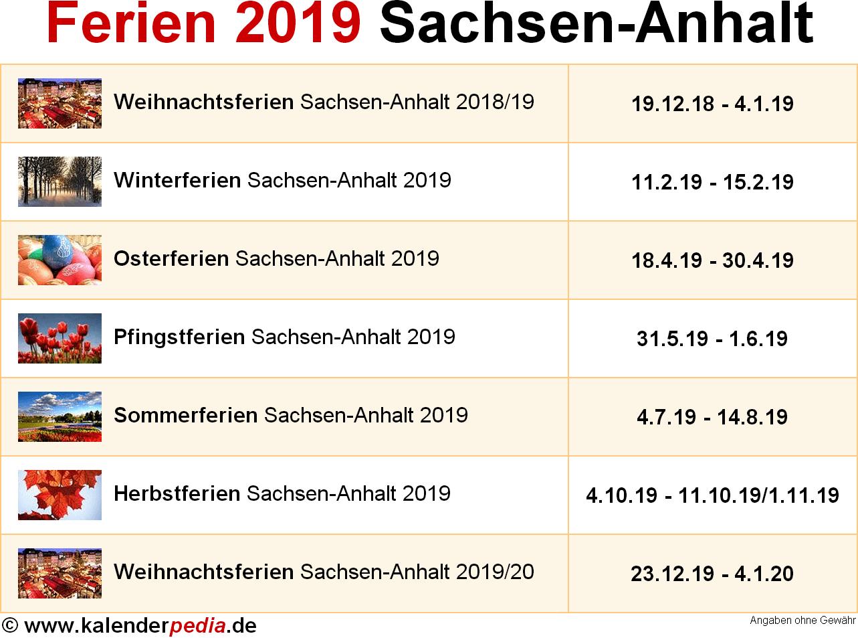Ferien Sachsen-Anhalt 2019 - Übersicht der Ferientermine