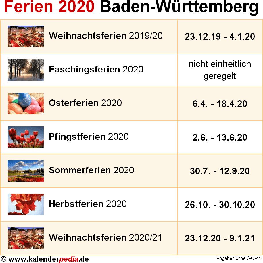 Ferien Baden Wurttemberg 2020 Ubersicht Der Ferientermine