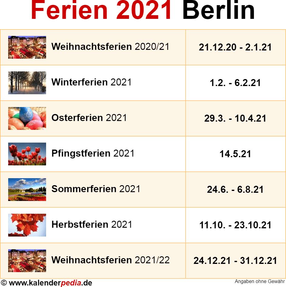 Ferien Sommer 2021 Berlin