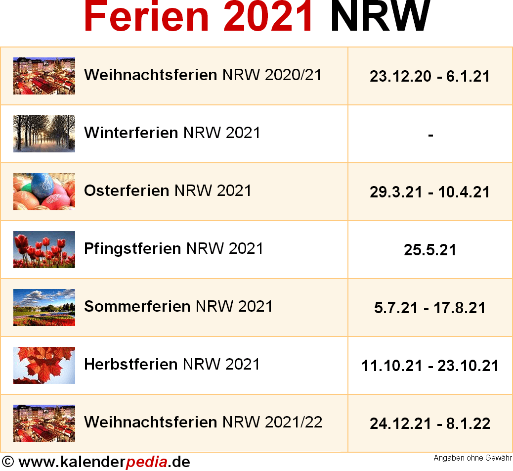 Ferien In Nrw 2021