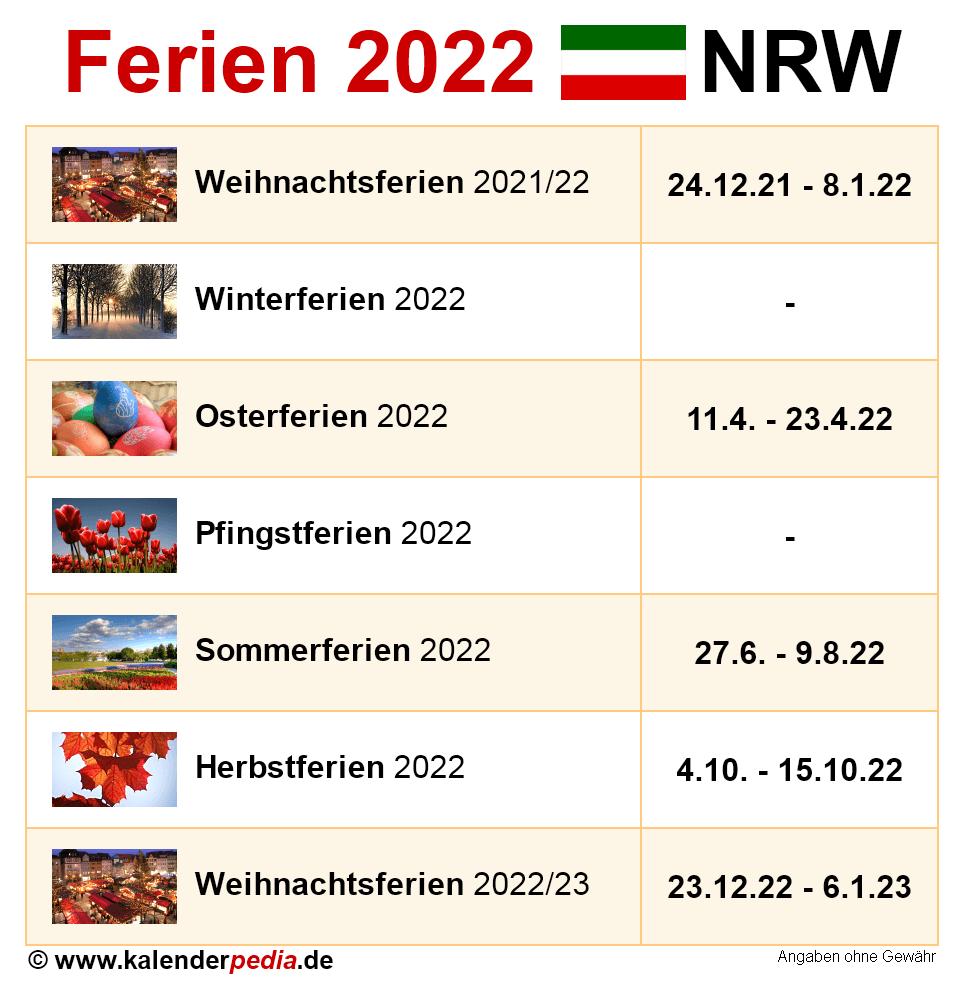 Ferien Nordrhein-Westfalen (NRW) 2022 - Übersicht der ...