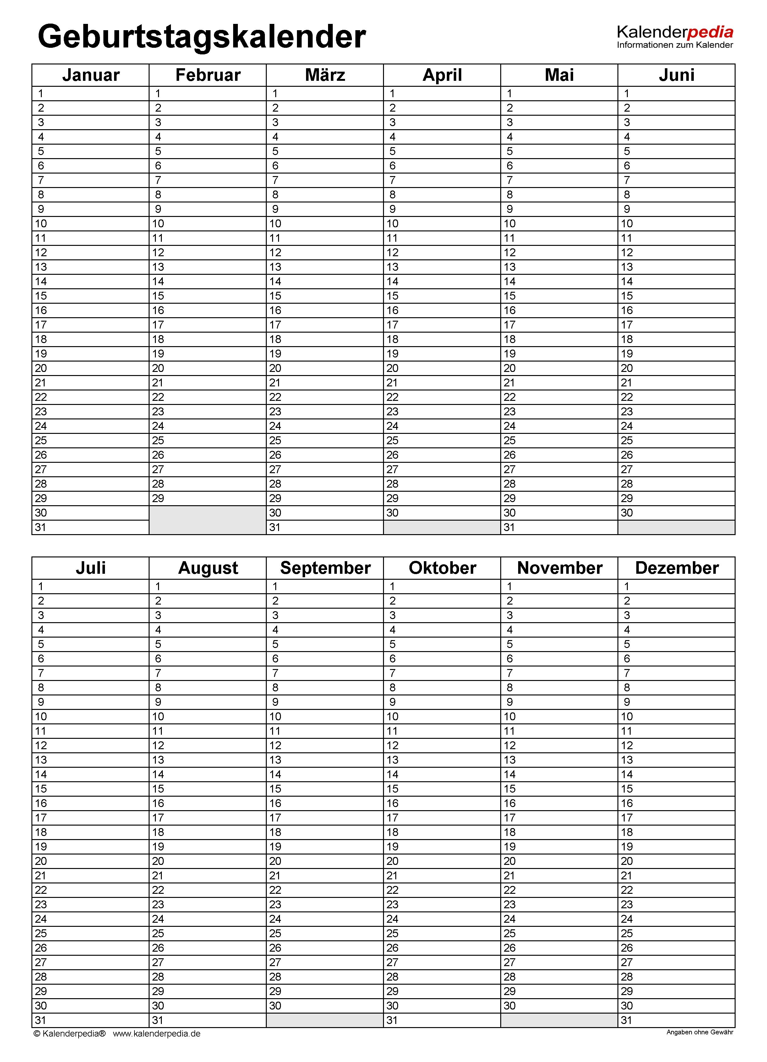 Geburtstagsliste geburtstagskalender in excel zum ausdrucken (10 varianten)