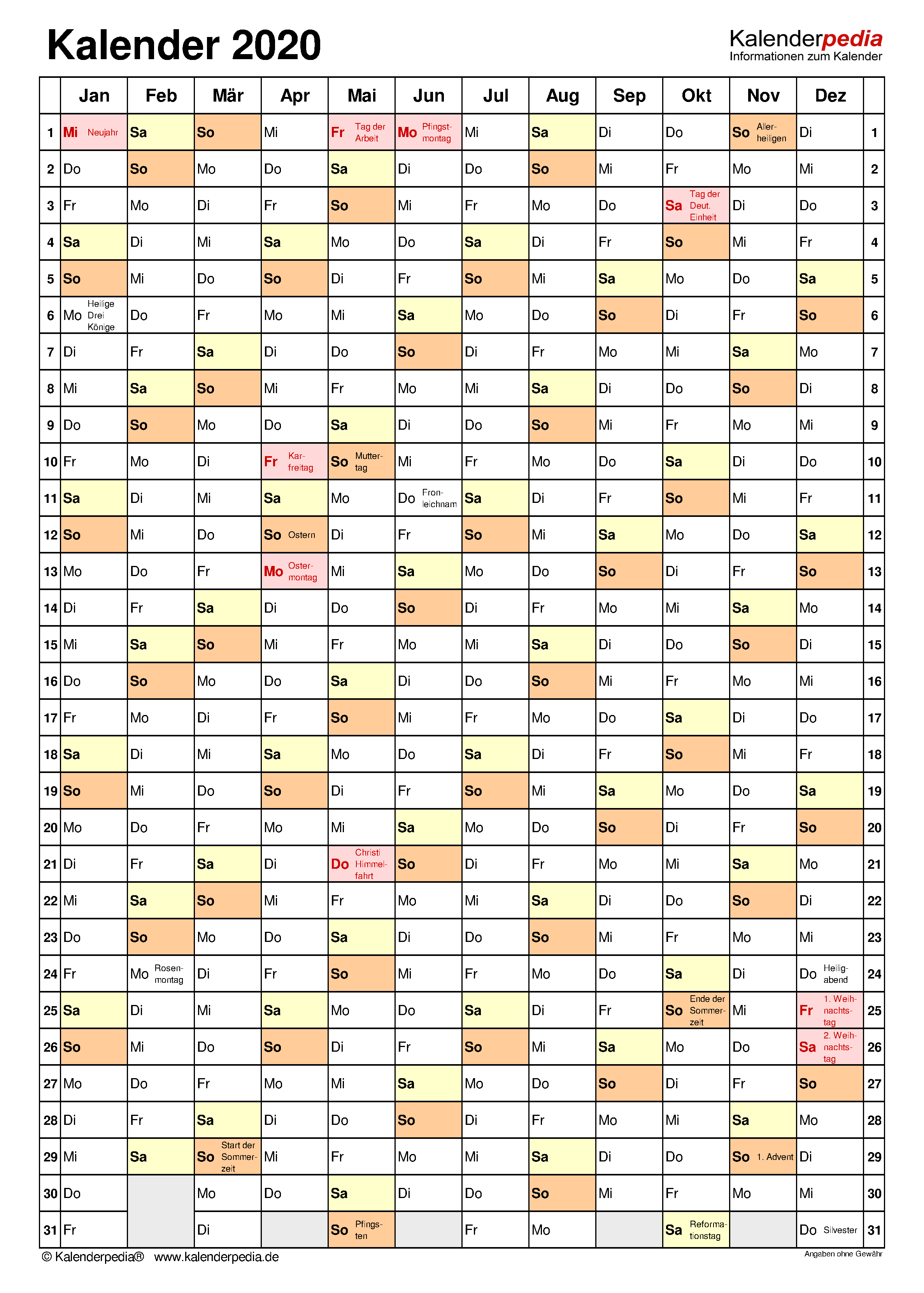 Jahreskalender 2020 Alle Meine Vorlagen De