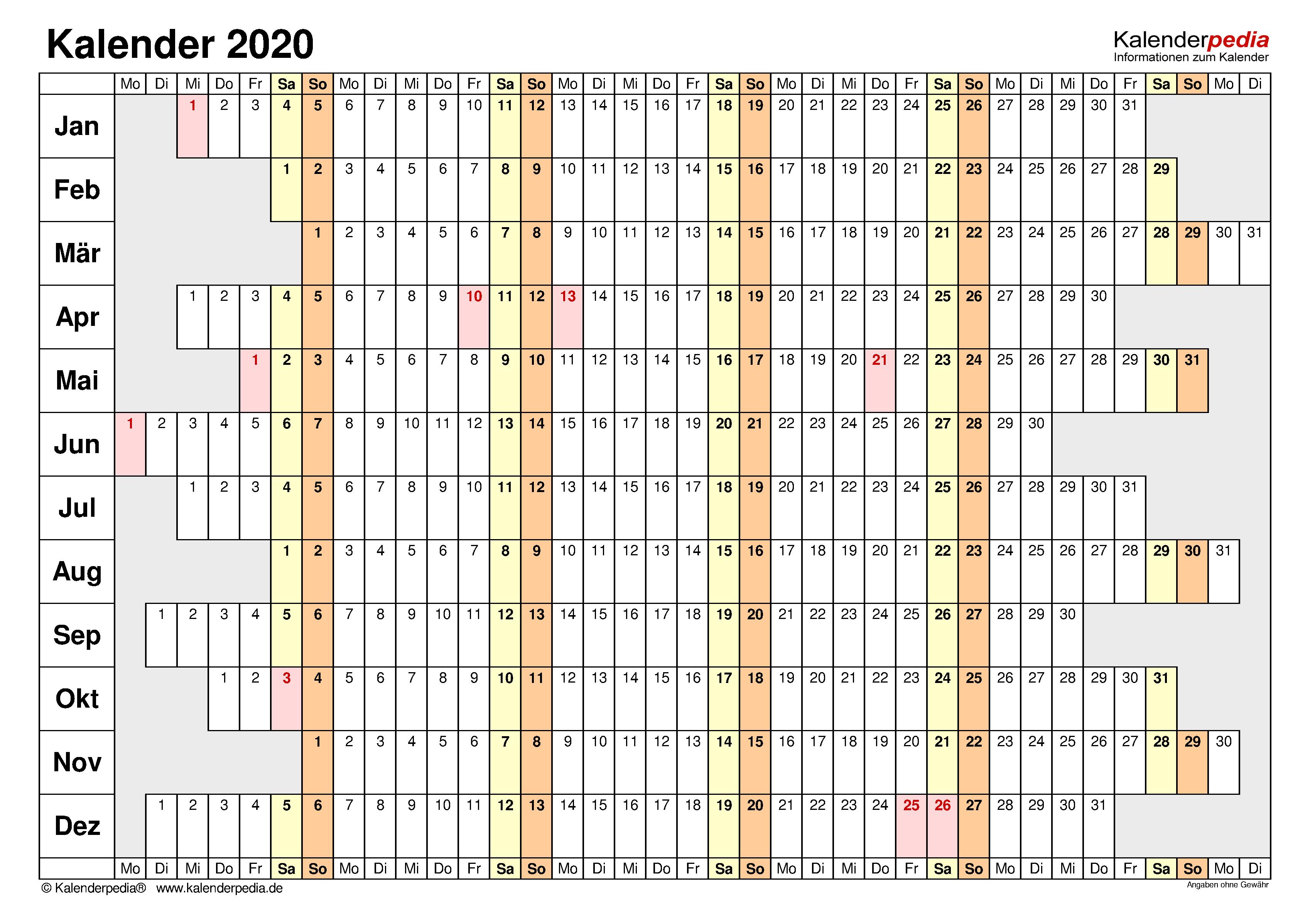 Kalender 2020 Zum Ausdrucken In Excel 19 Vorlagen Kostenlos