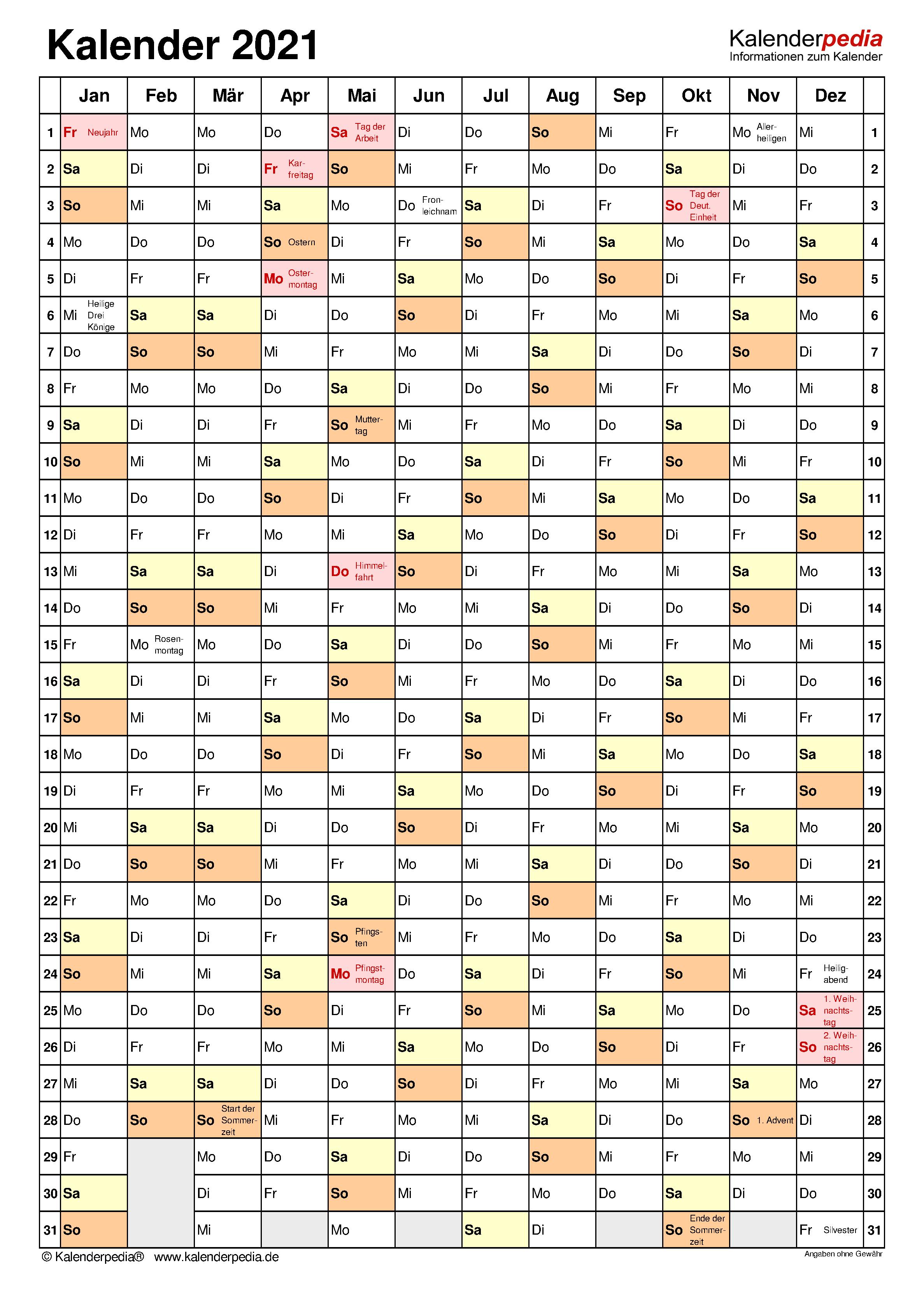 Kalender 2021 Zum Ausdrucken In Excel 19 Vorlagen Kostenlos