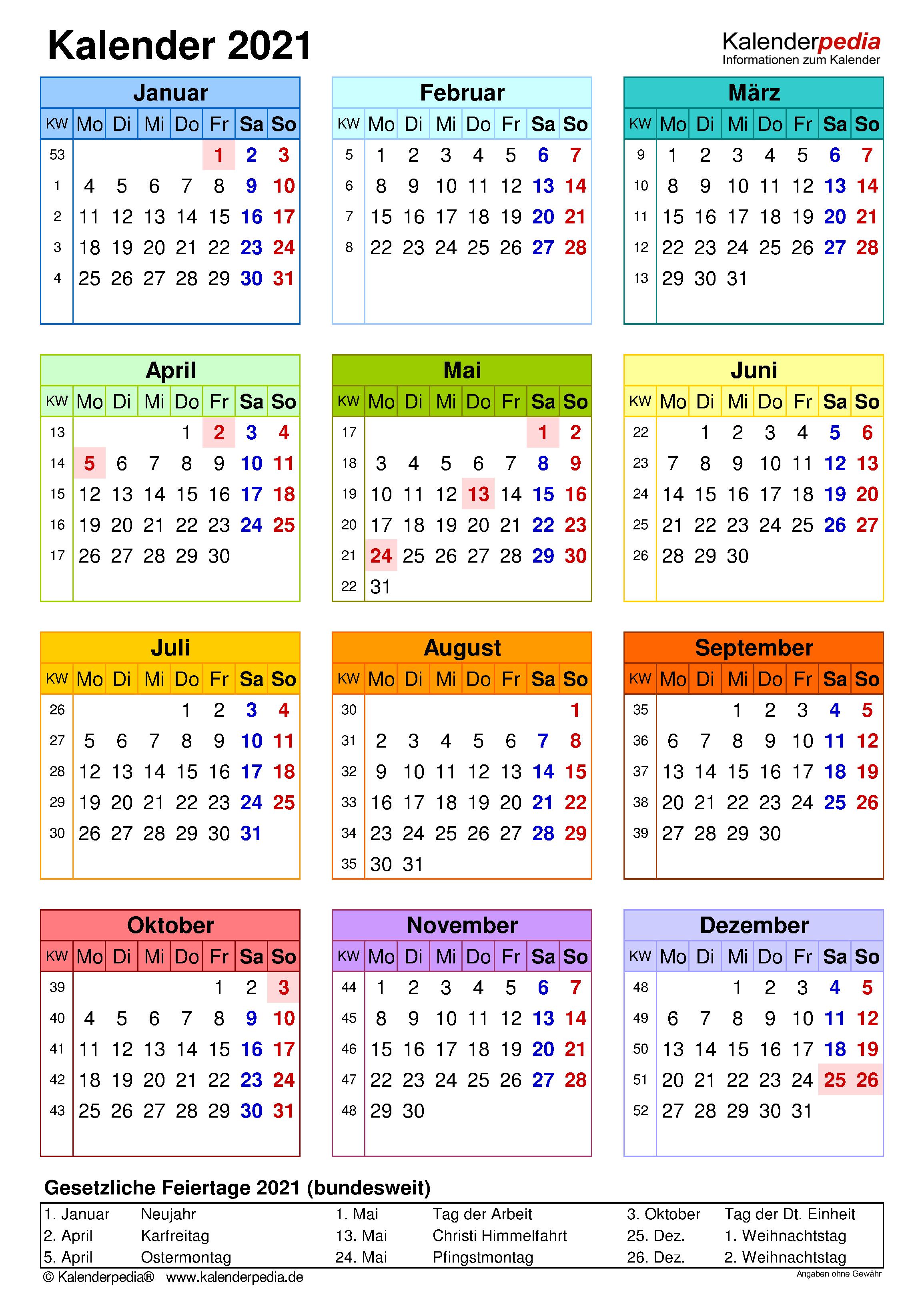 15 Kostenlose Kalender Vorlagen Fur 2021 0