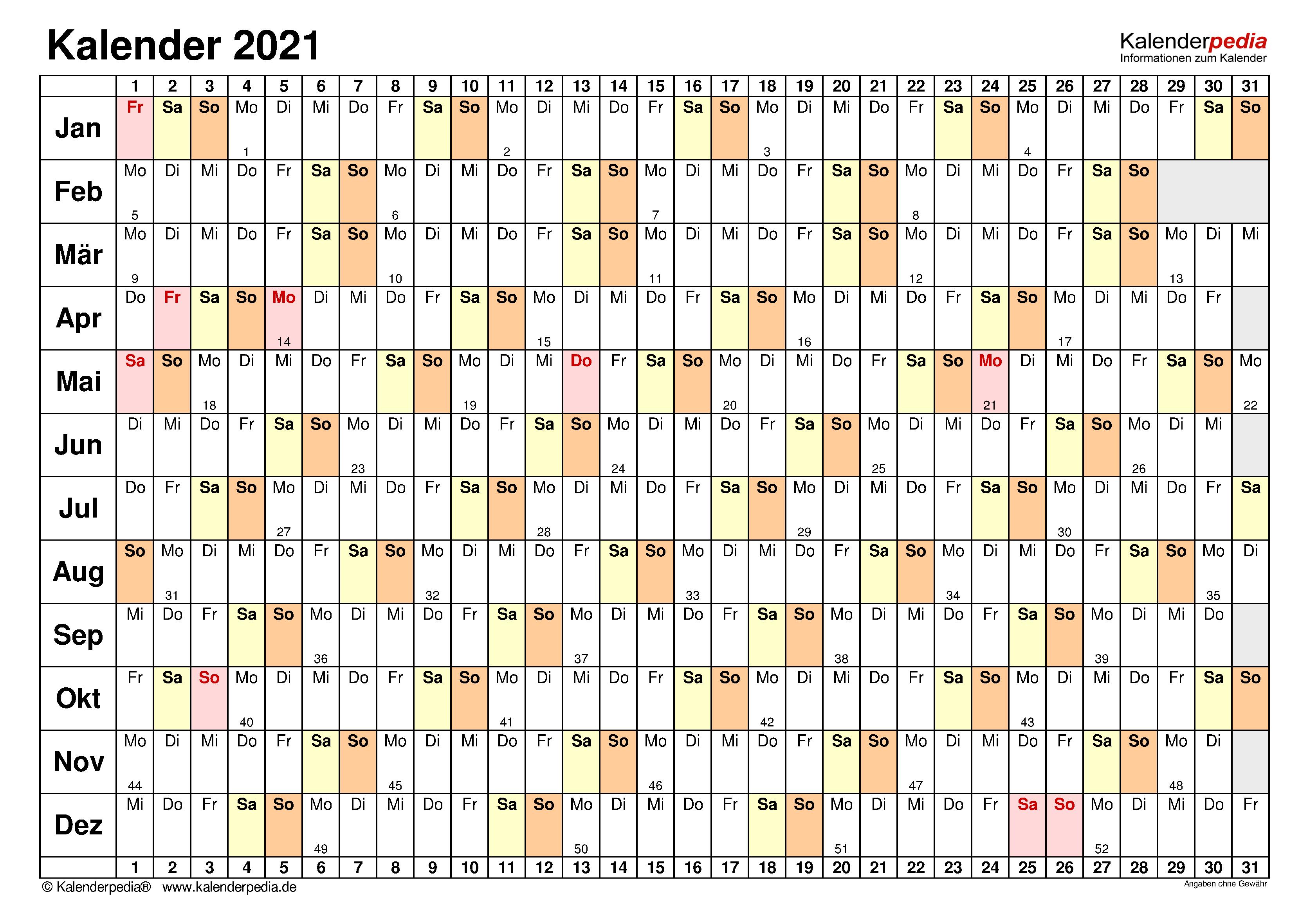kalender 2021 querformat