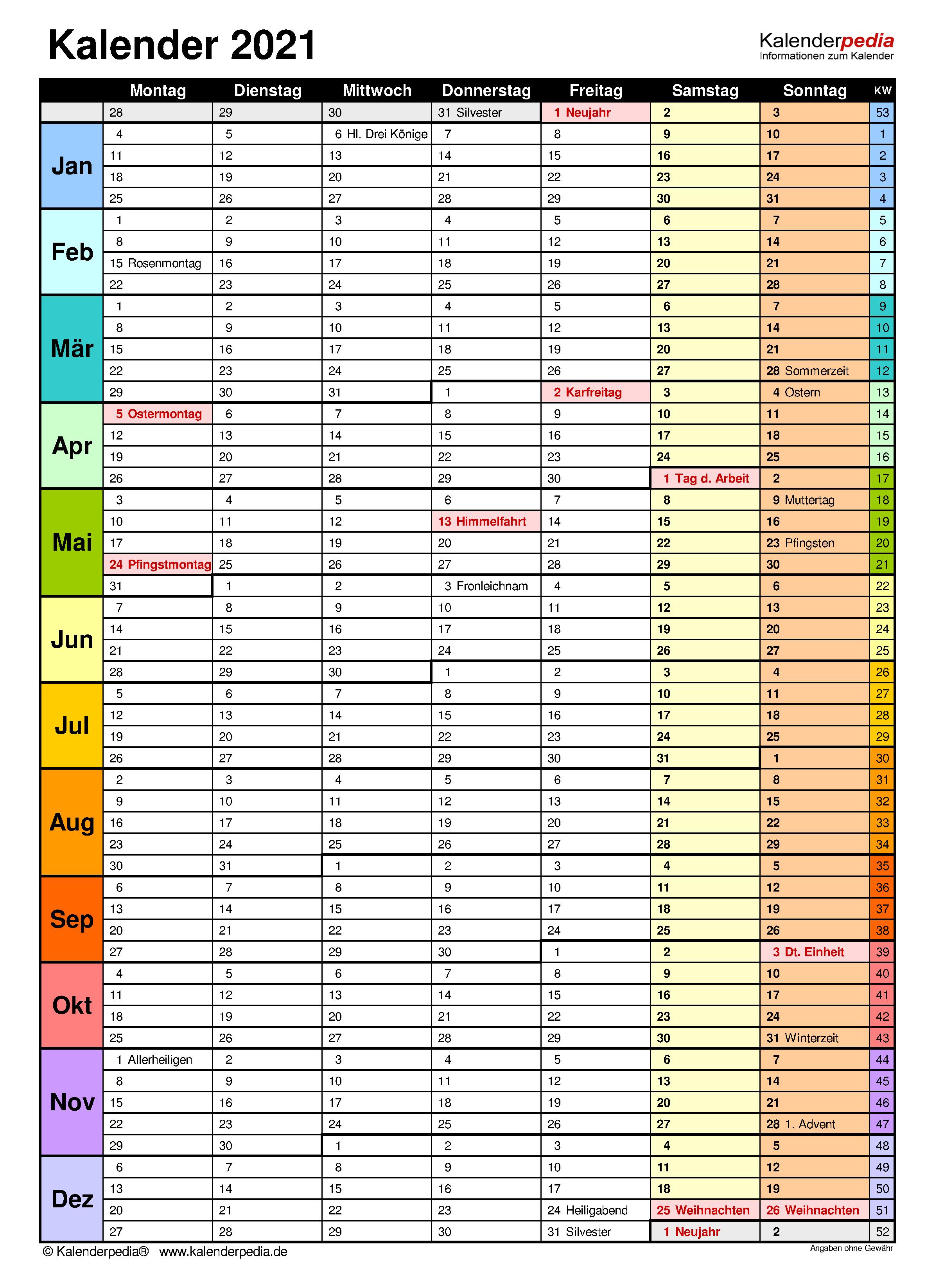 Kalender 2021 A4 Zum Ausdrucken / Ferien Berlin 2021 ...