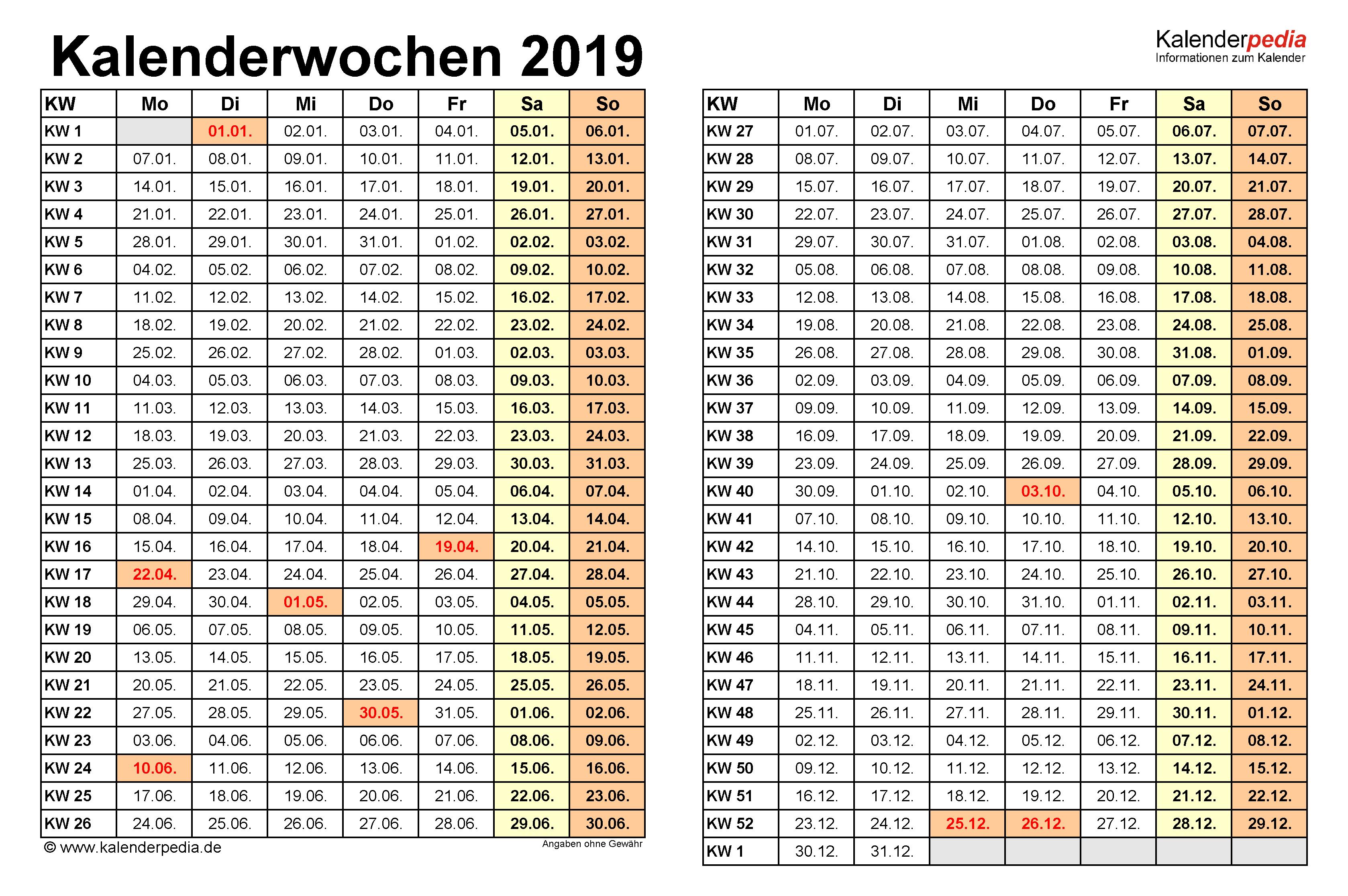 Kalenderwoche Heute