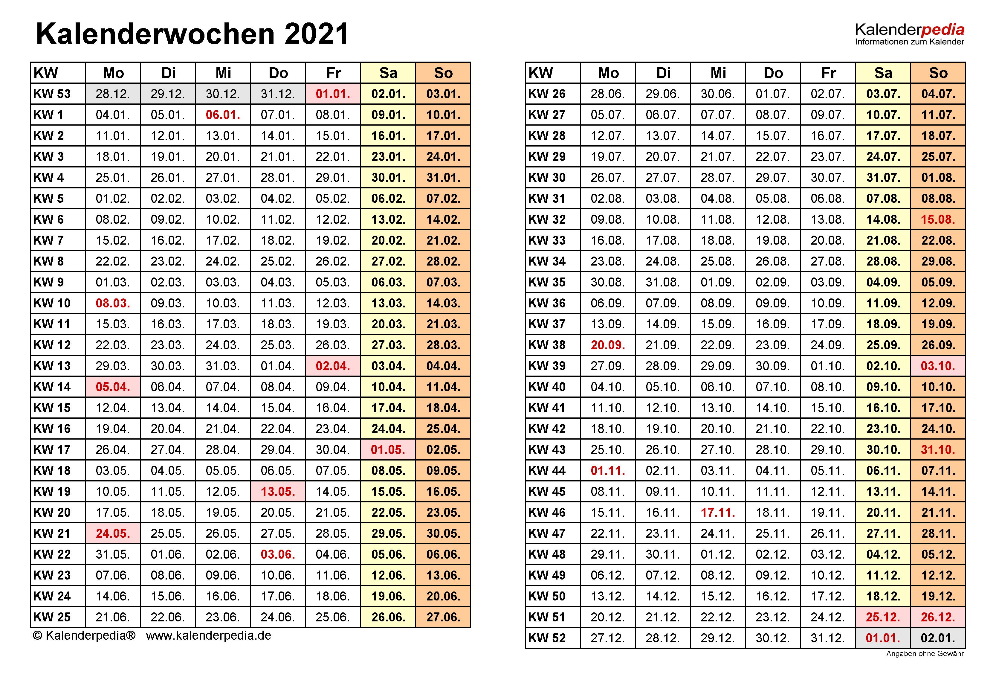 Kalenderwoche 33 2021