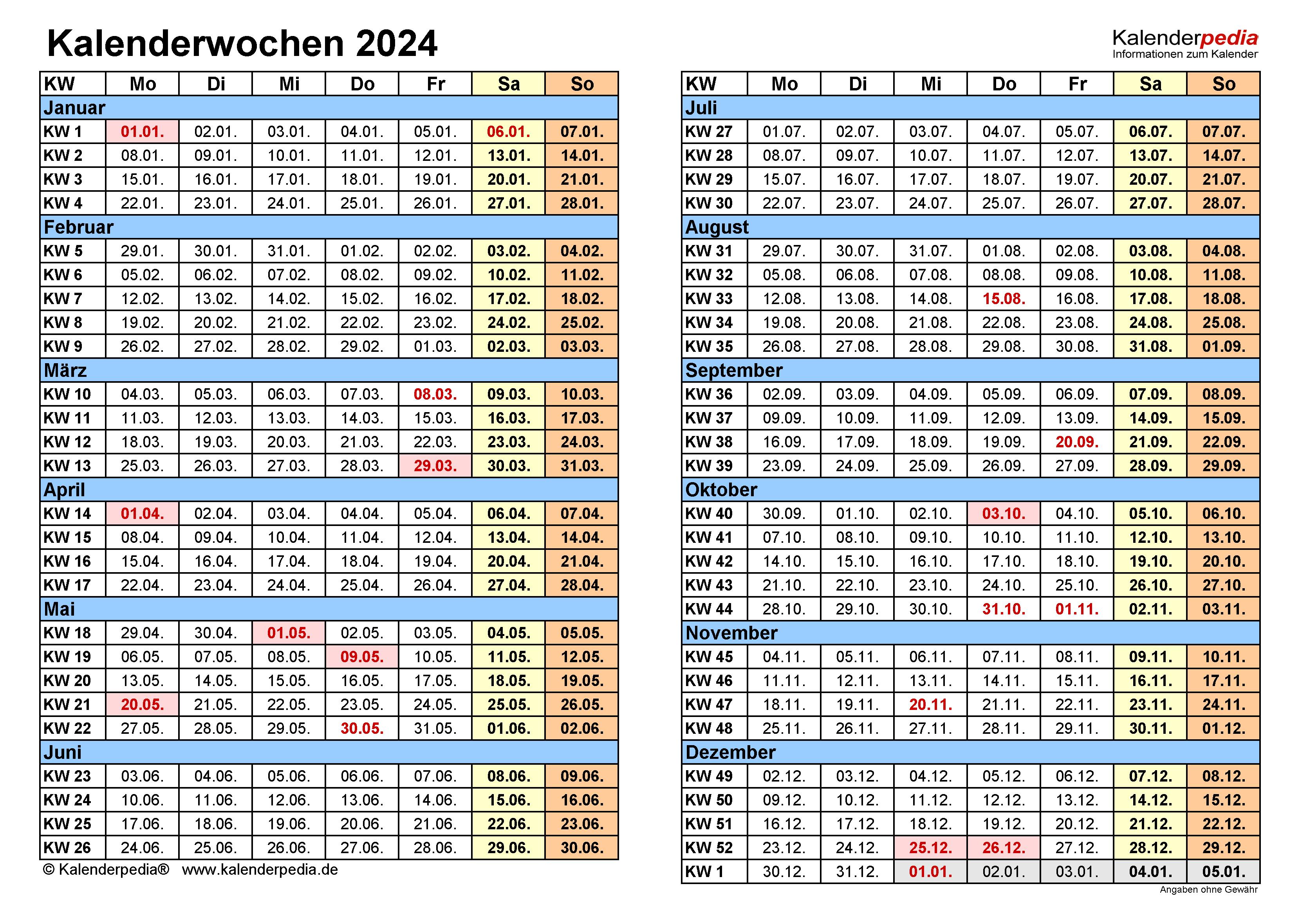 Kalenderwochen 2024 mit Vorlagen für Excel, Word & PDF