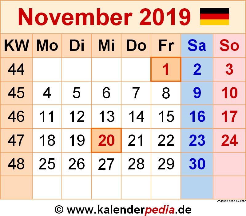 Kalender 2019 mit kalenderwochen