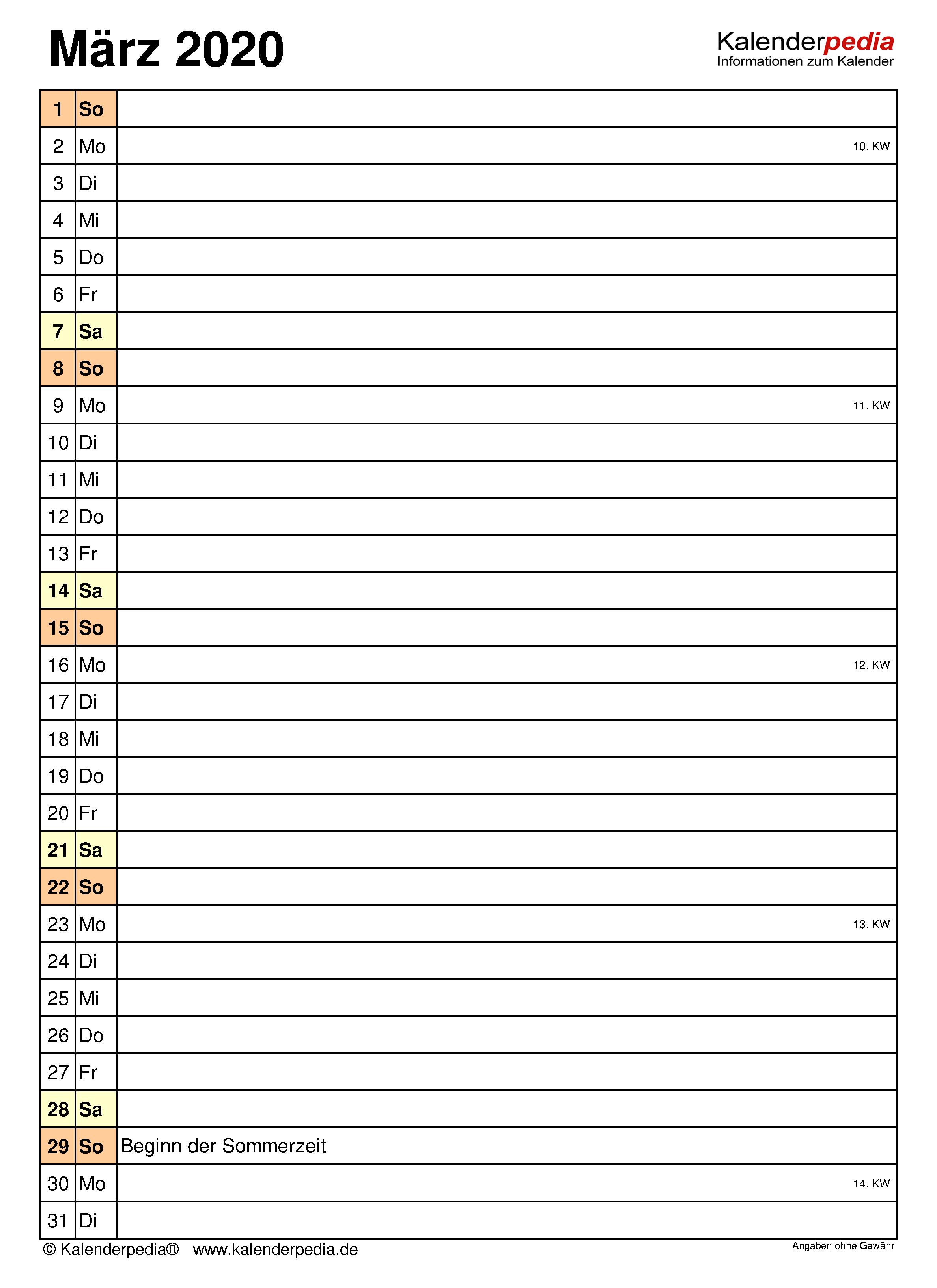 kalender märz 2020 zum ausdrucken