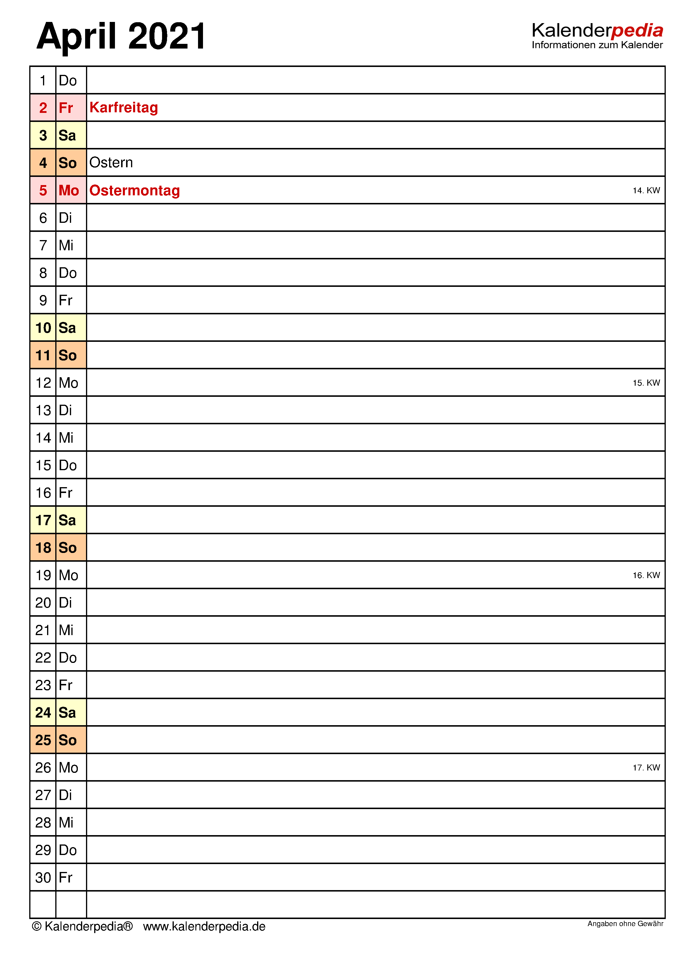 Kalender April 2021 als Word-Vorlagen