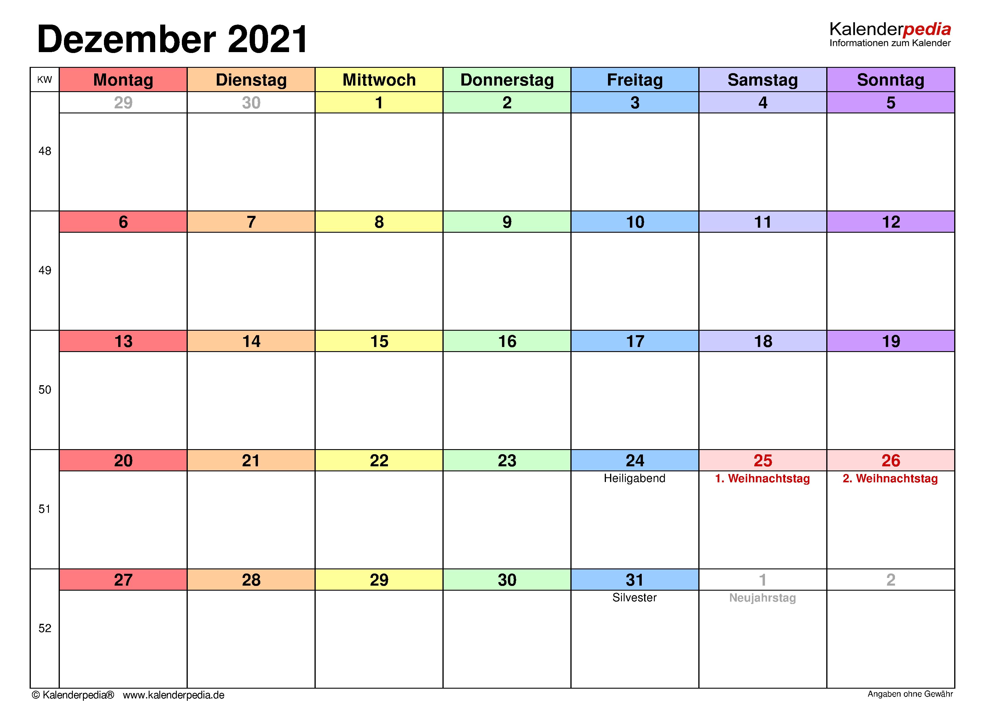 Kalender December 2021 als Excel-Vorlagen