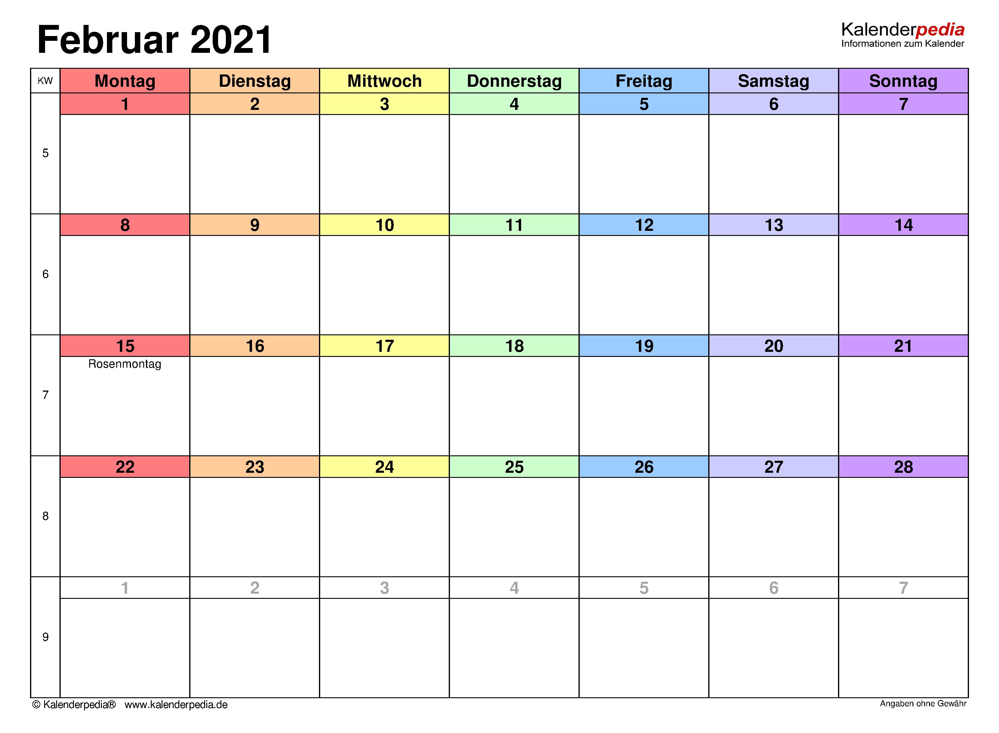 Kalender Februar 2021 als PDF-Vorlagen