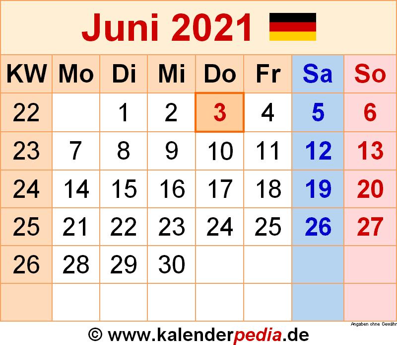 Kalender Juni 2021 als Word-Vorlagen