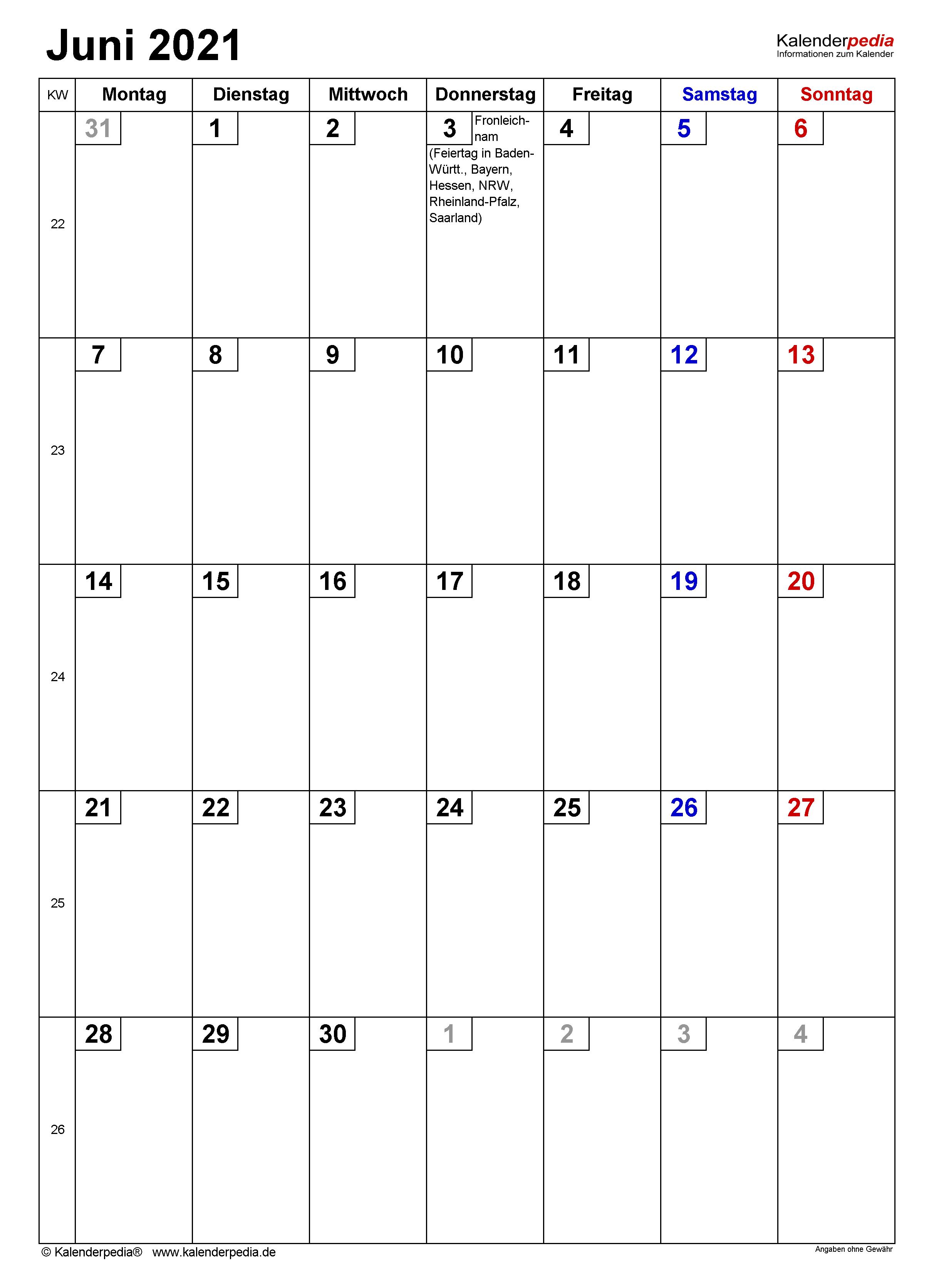 Kalender Juni 2021 als PDF-Vorlagen