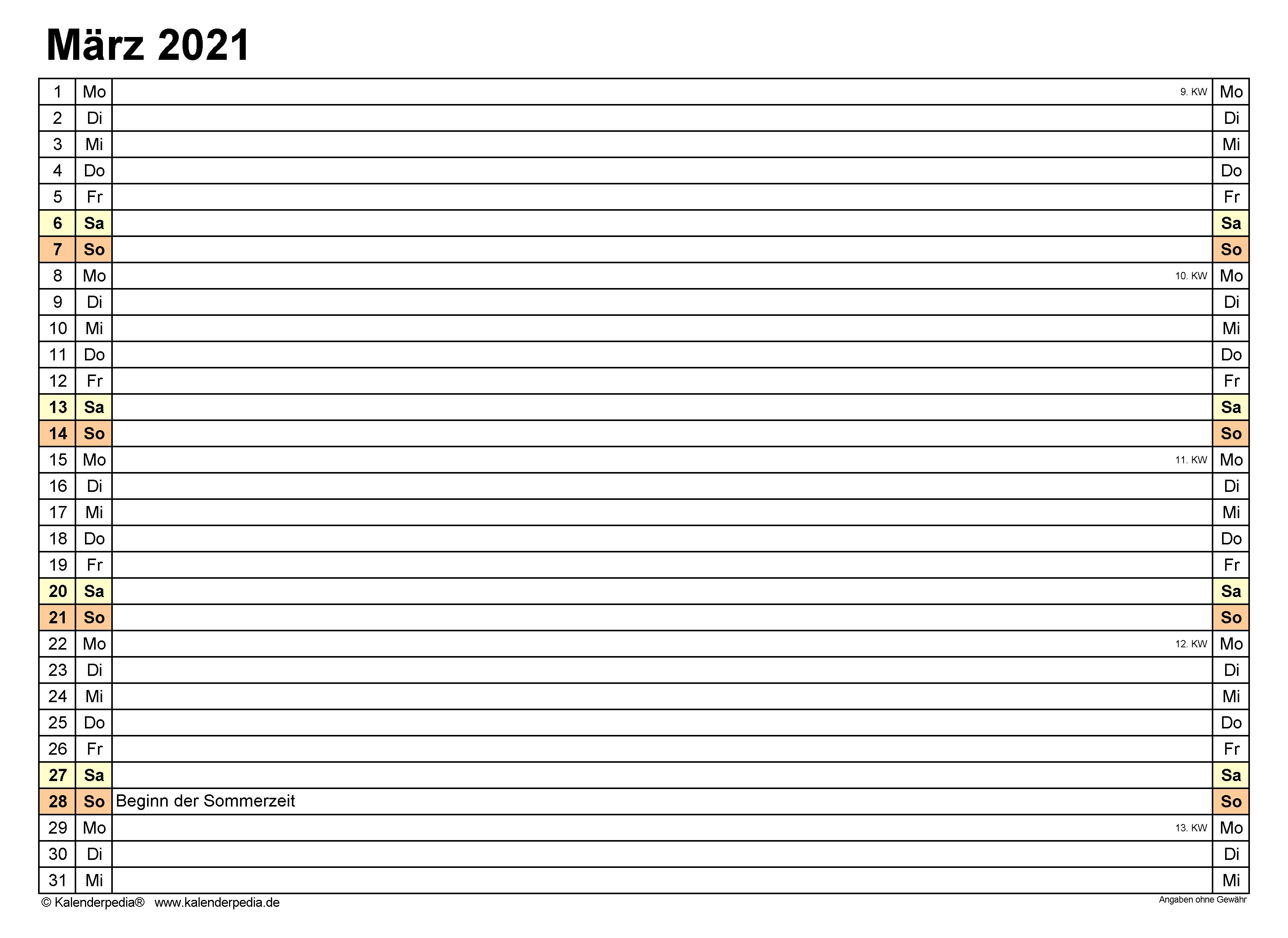 Monatskalender März 2021 Zum Ausdrucken Kostenlos ...