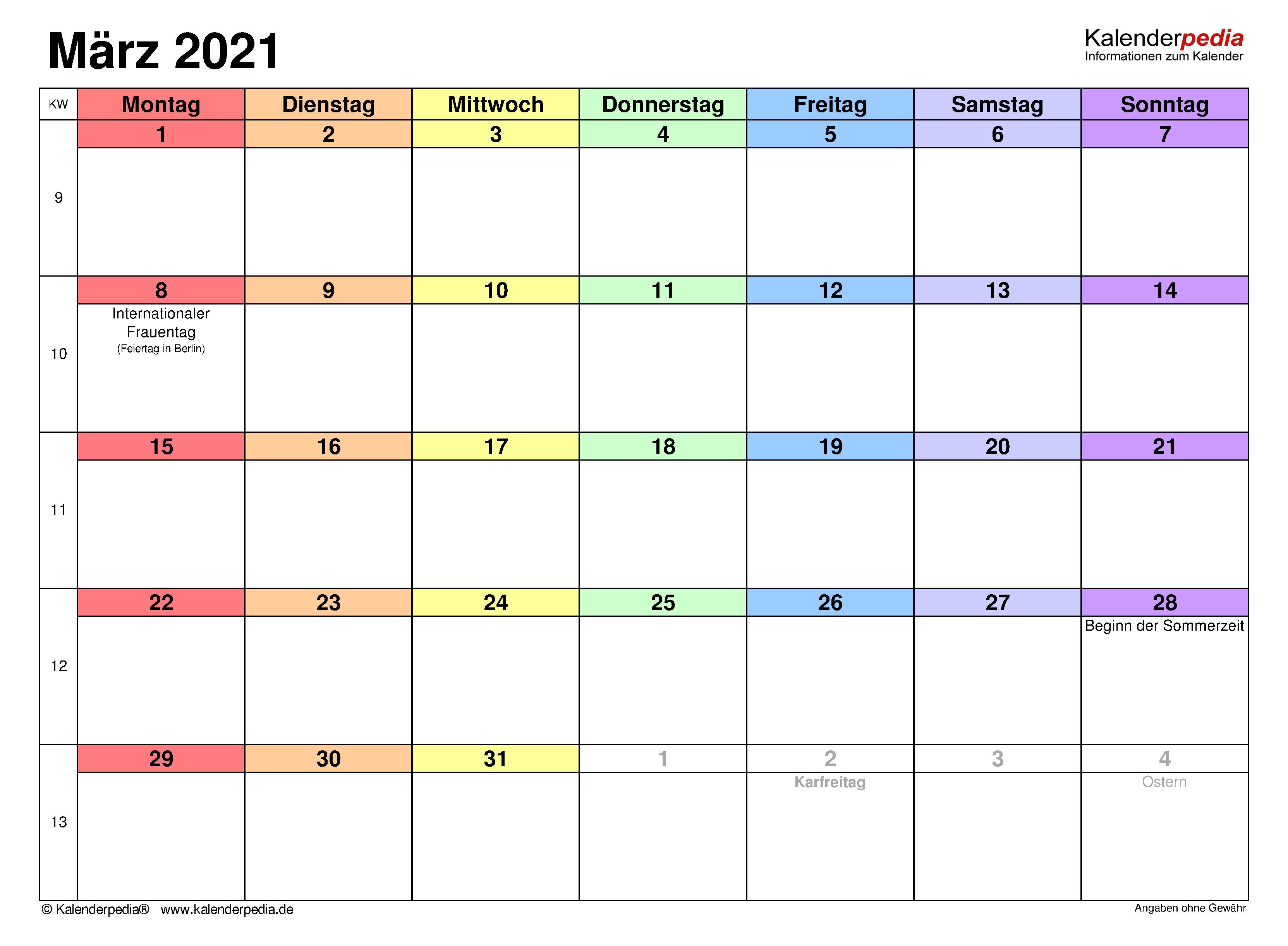 Kalender März 2021 als PDF-Vorlagen