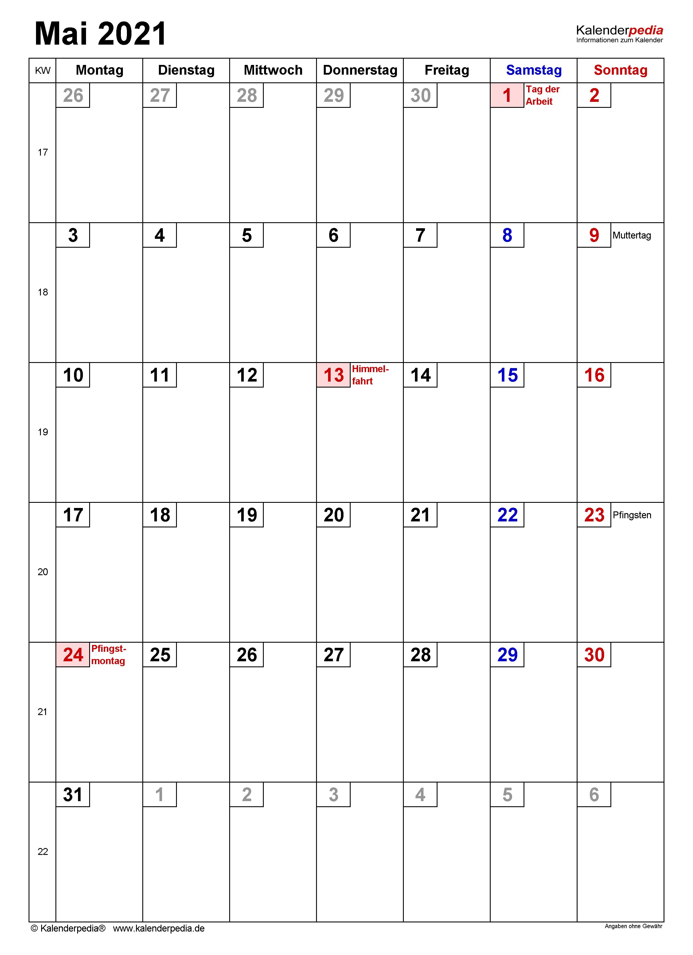 Kalender Mai 2021 als PDF-Vorlagen
