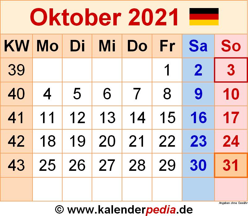 Kalender Oktober 2021 als Word-Vorlagen