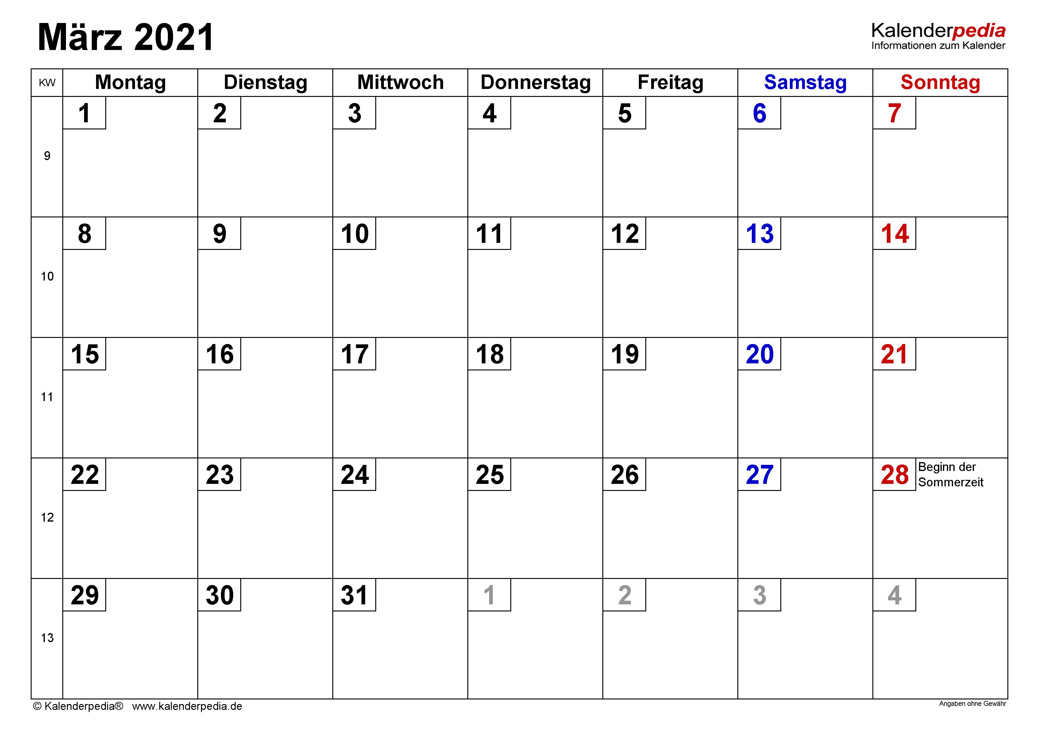 Monatskalender 2021 Zum Ausdrucken