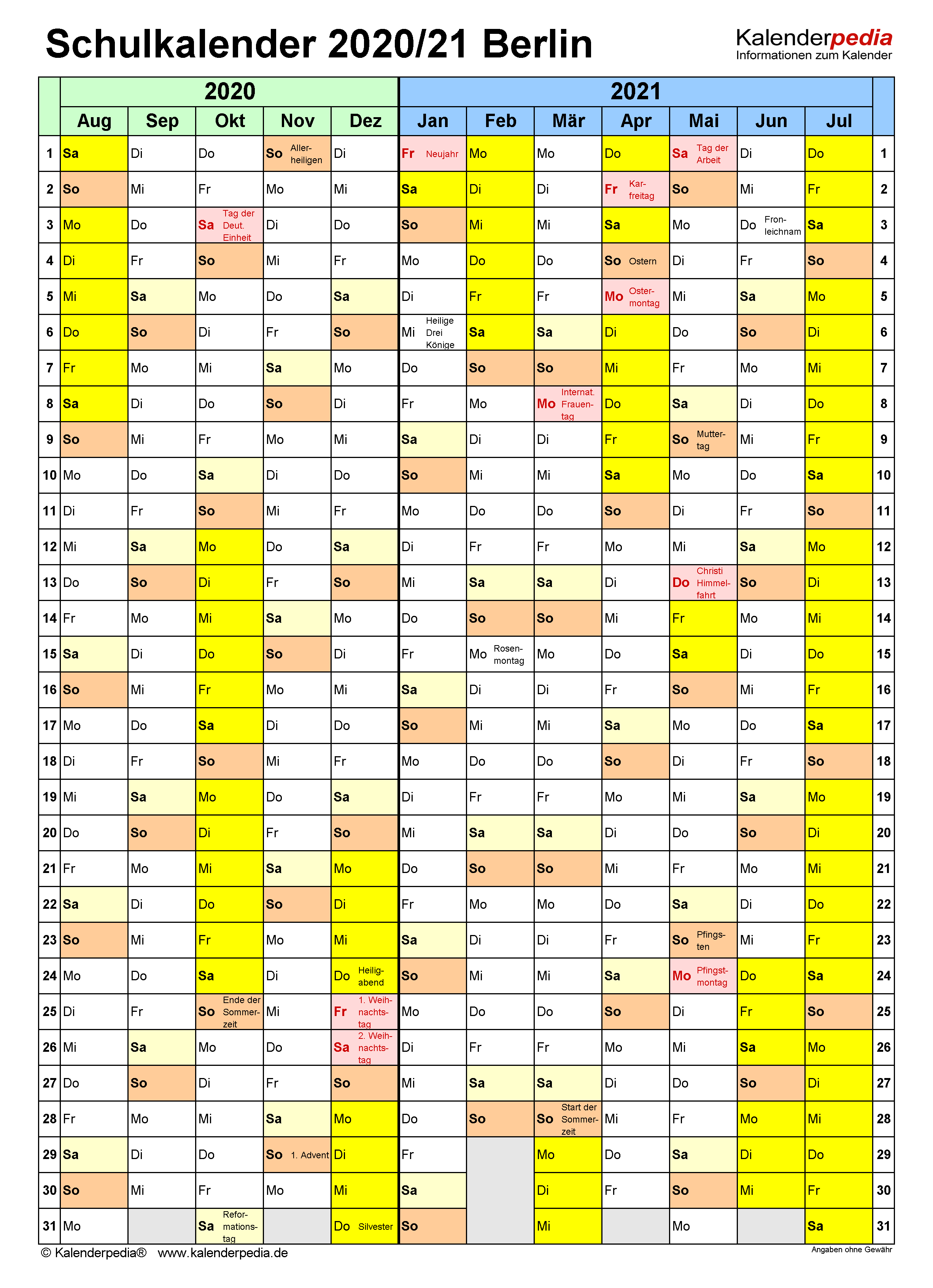 Schulkalender 2020/2021 Berlin für Word