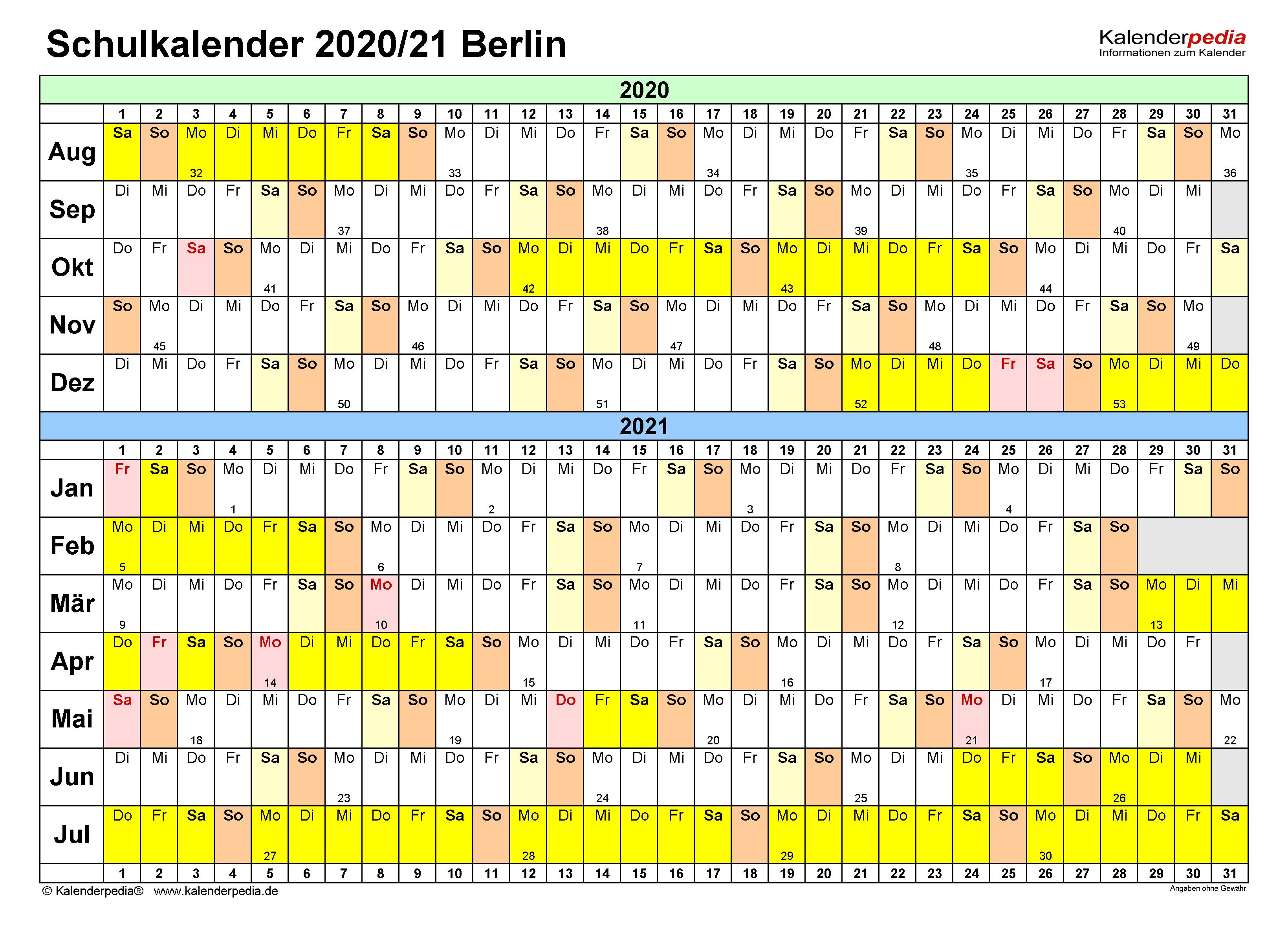 Schulkalender 2020/2021 Berlin für Excel