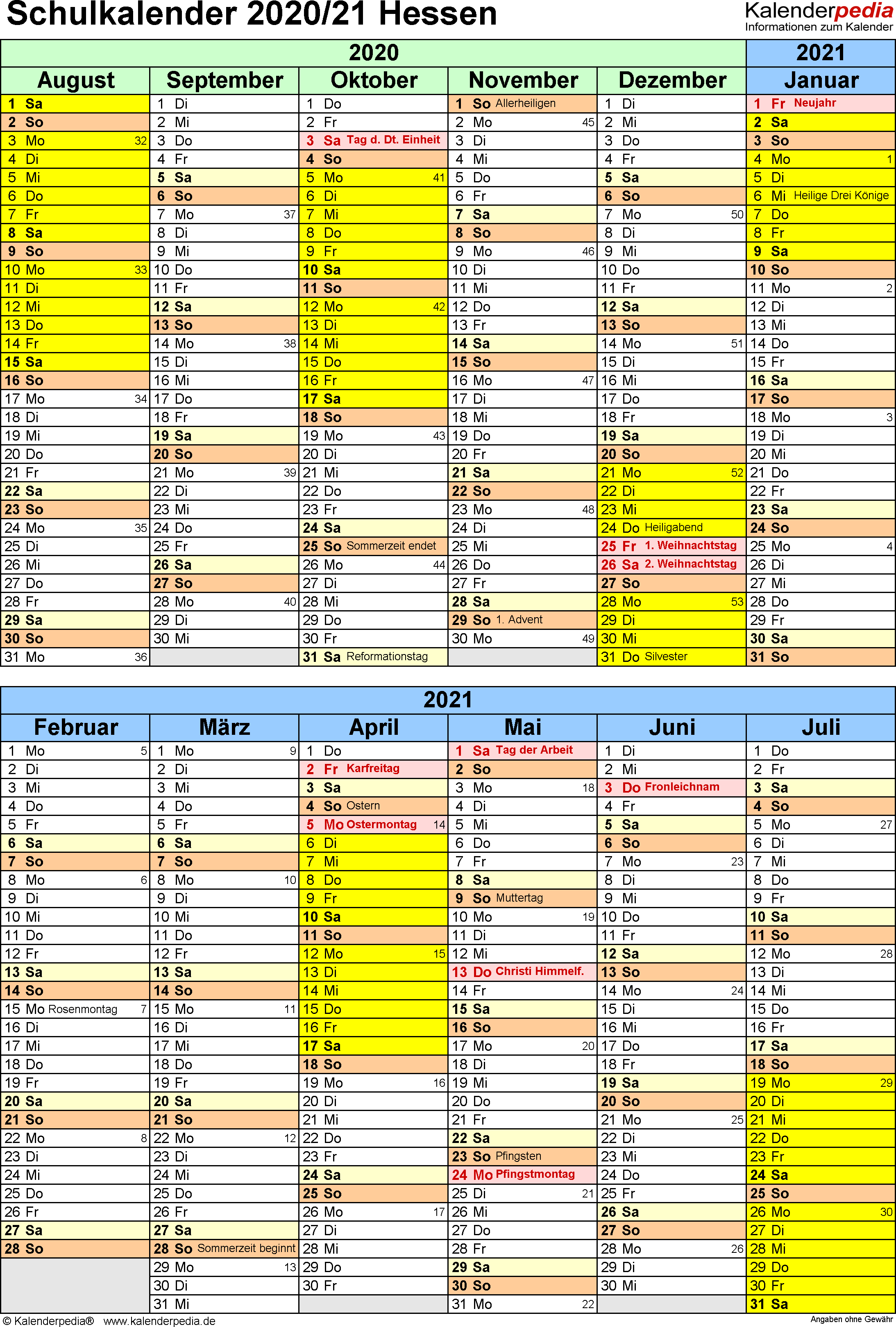 Schulkalender Hessen 2021