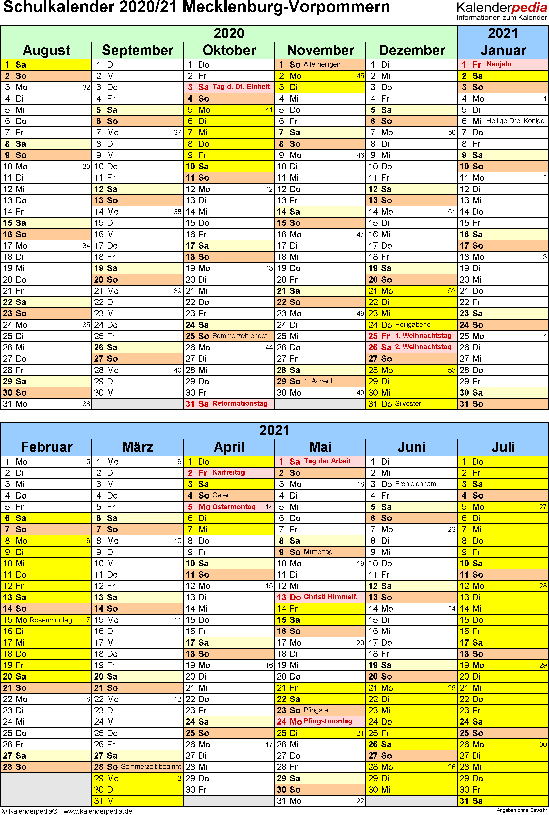 Schulkalender 2020/2021 Mecklenburg-Vorpommern für Excel