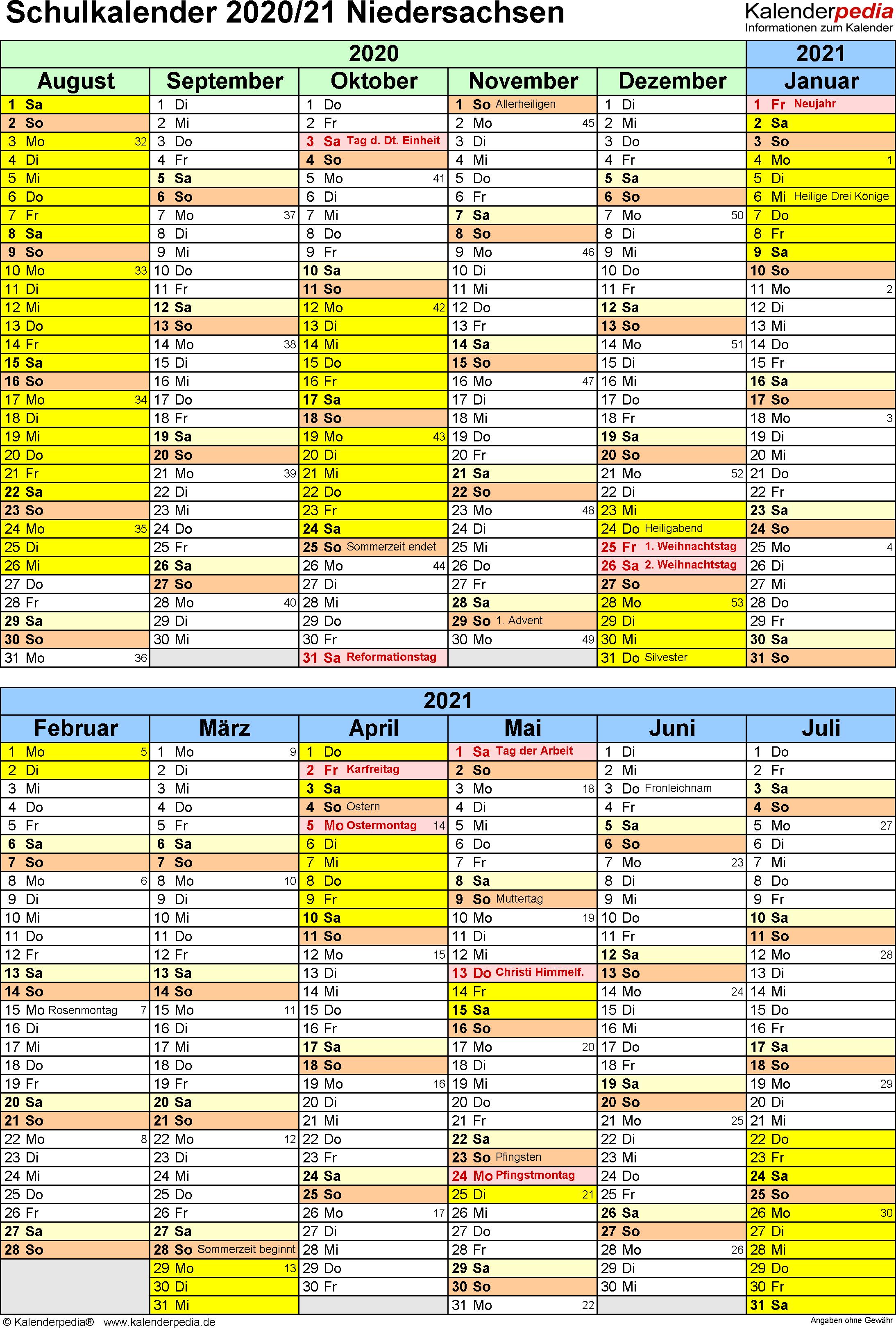 Schulkalender 2020/2021 Niedersachsen für Excel