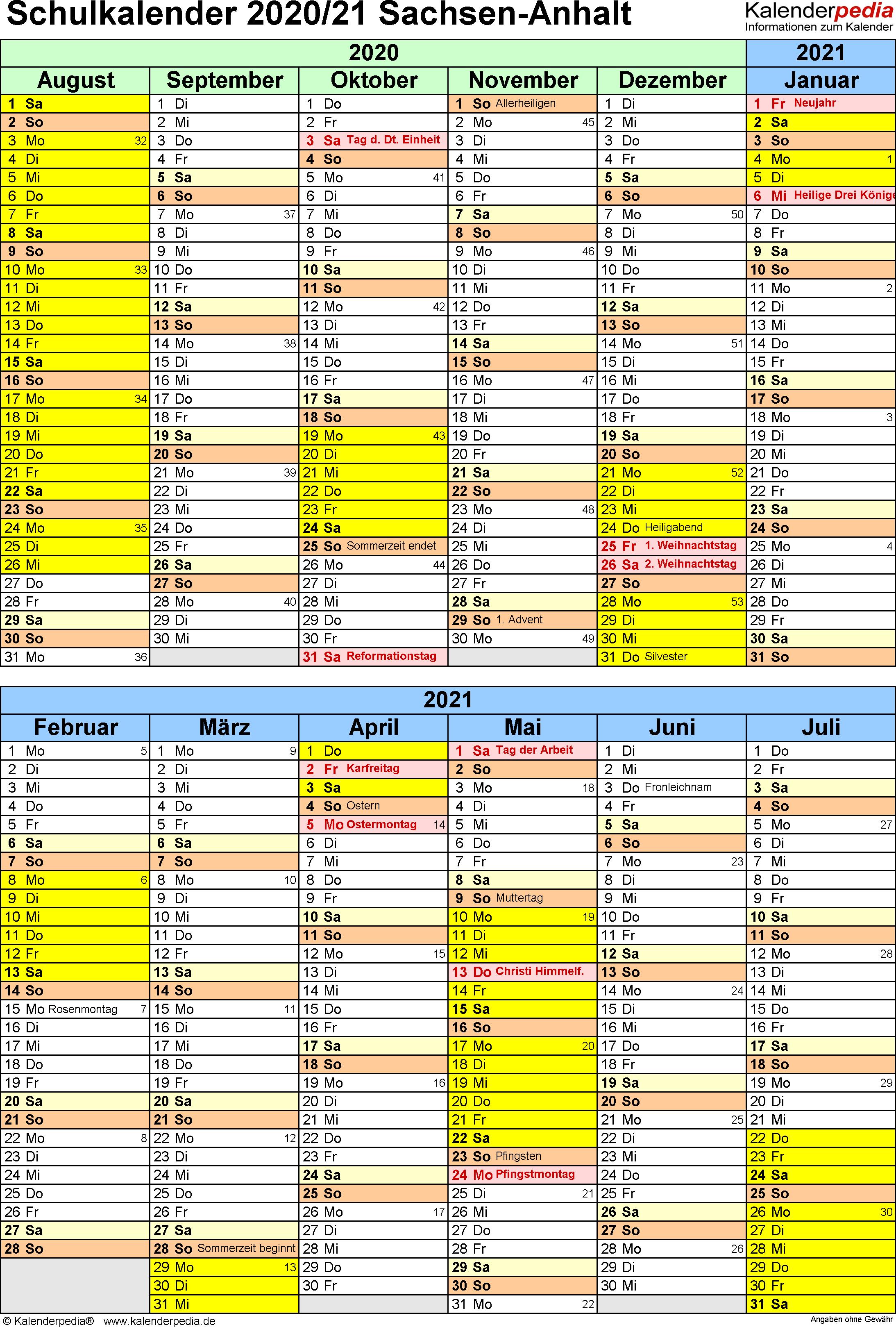 Schulkalender 2020/2021 Sachsen-Anhalt für Word