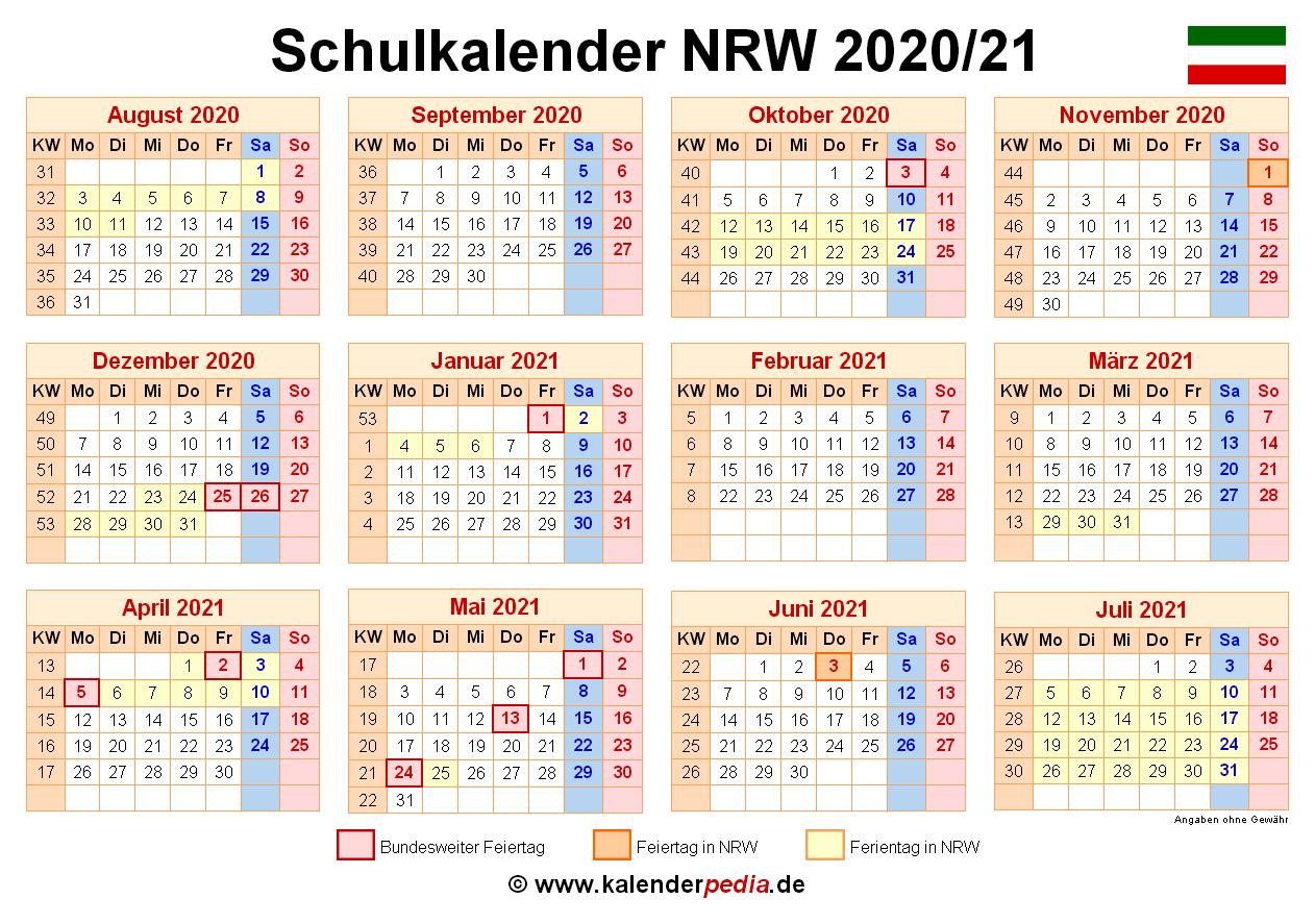 Schulkalender 2020/2021 NRW für PDF
