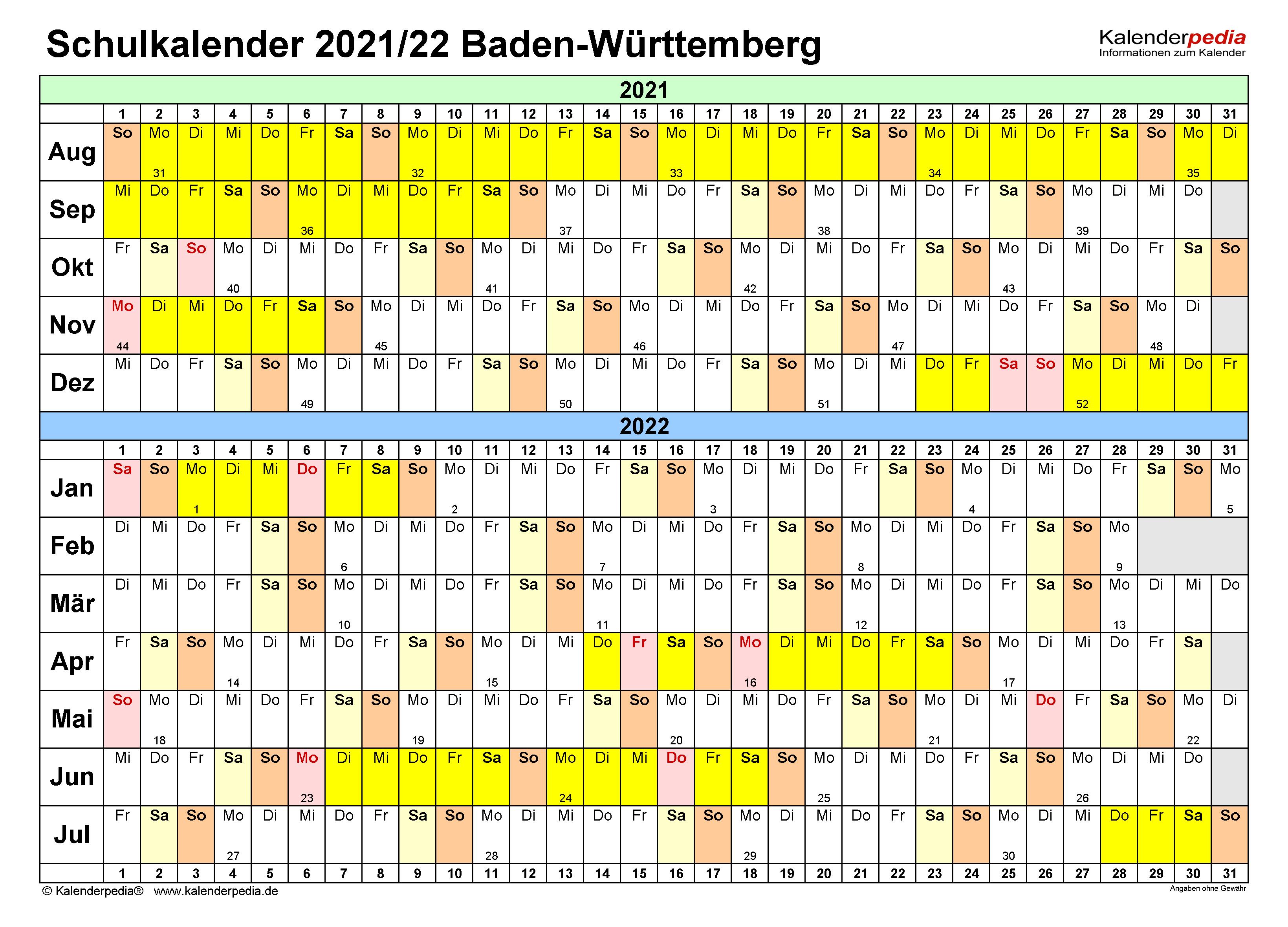 Schulkalender 2021/2022 Baden-Württemberg für Excel