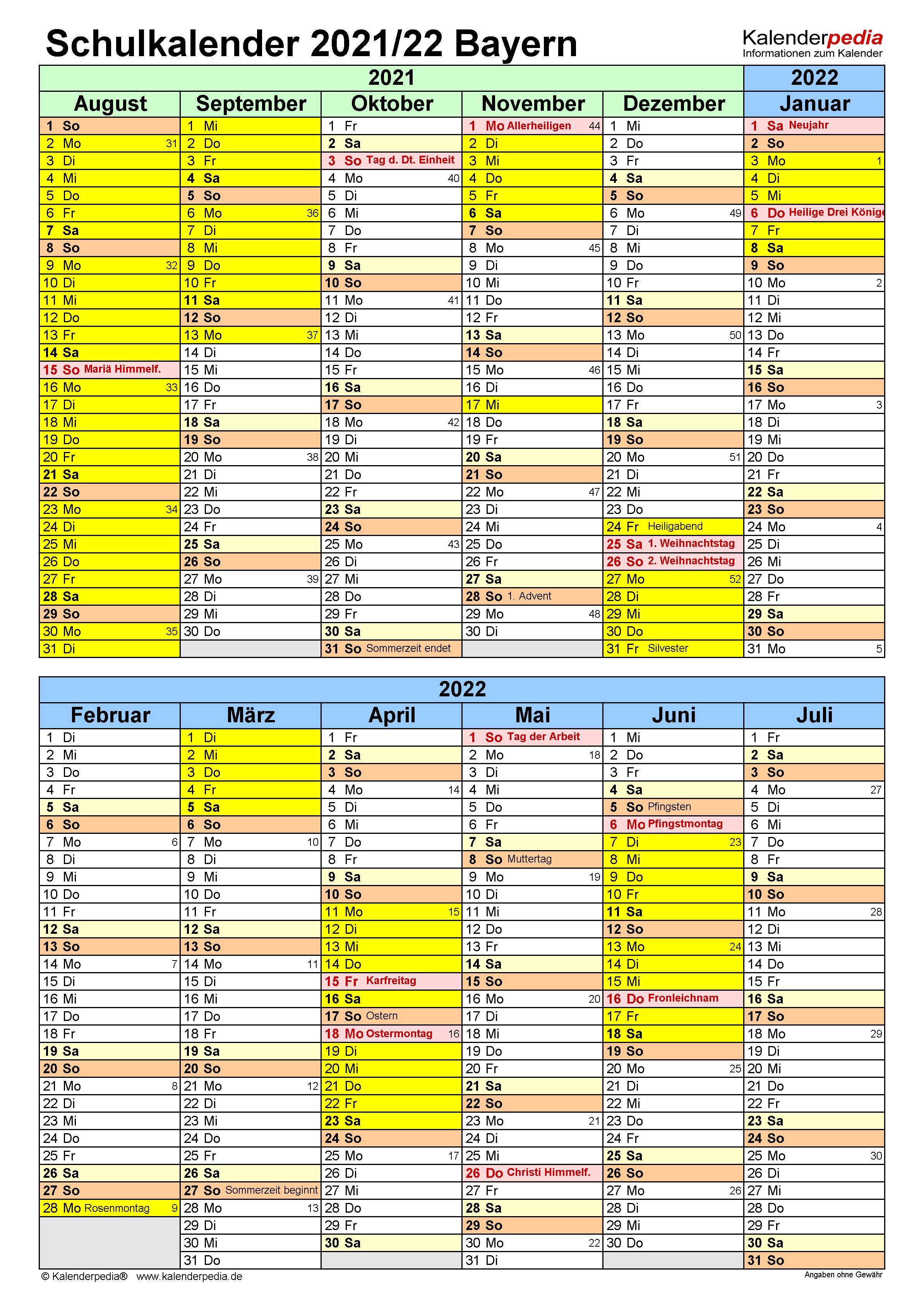 Schulkalender 2021/2022 Bayern für PDF