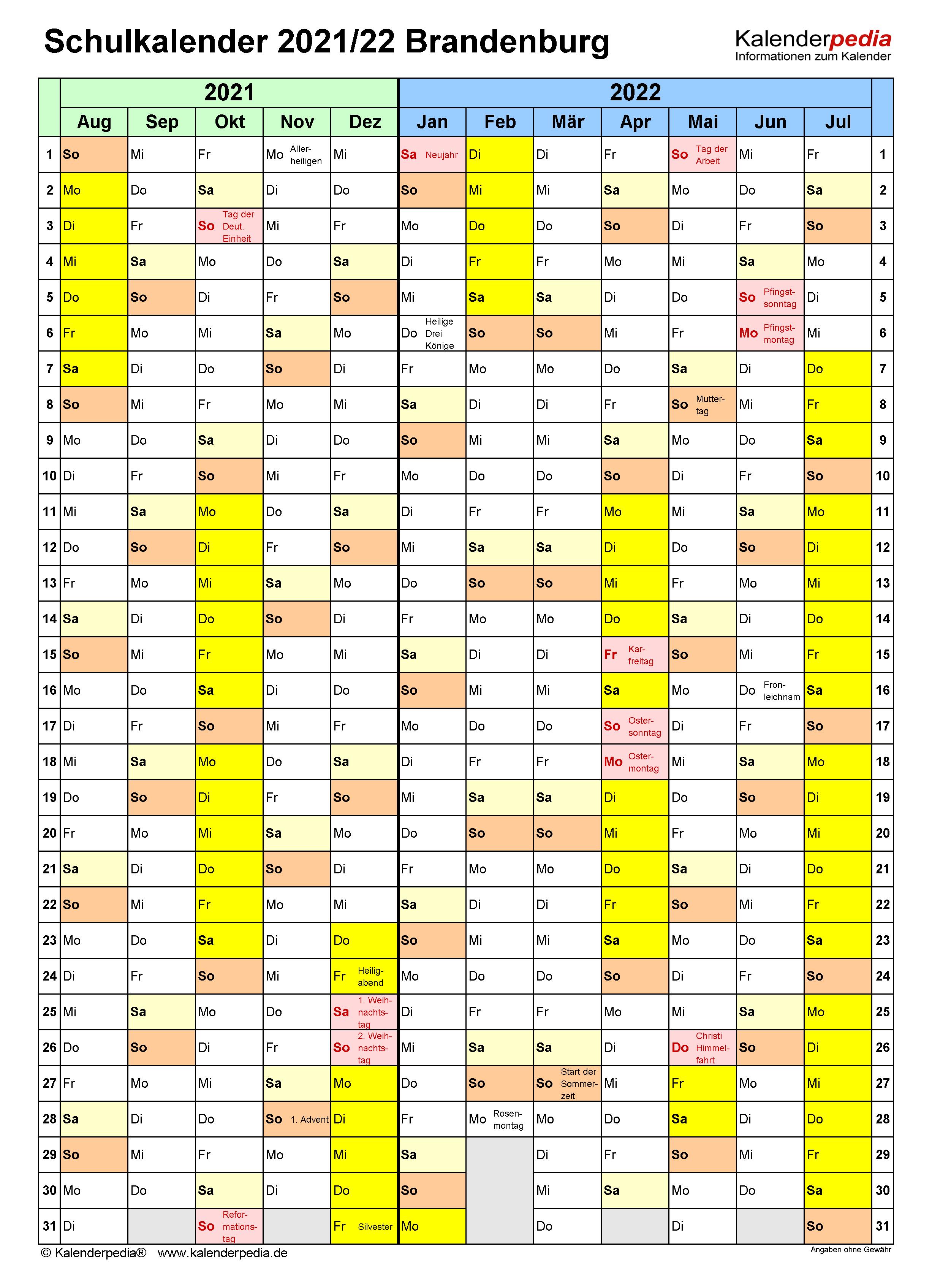 Schulkalender 2021/2022 Brandenburg für Excel