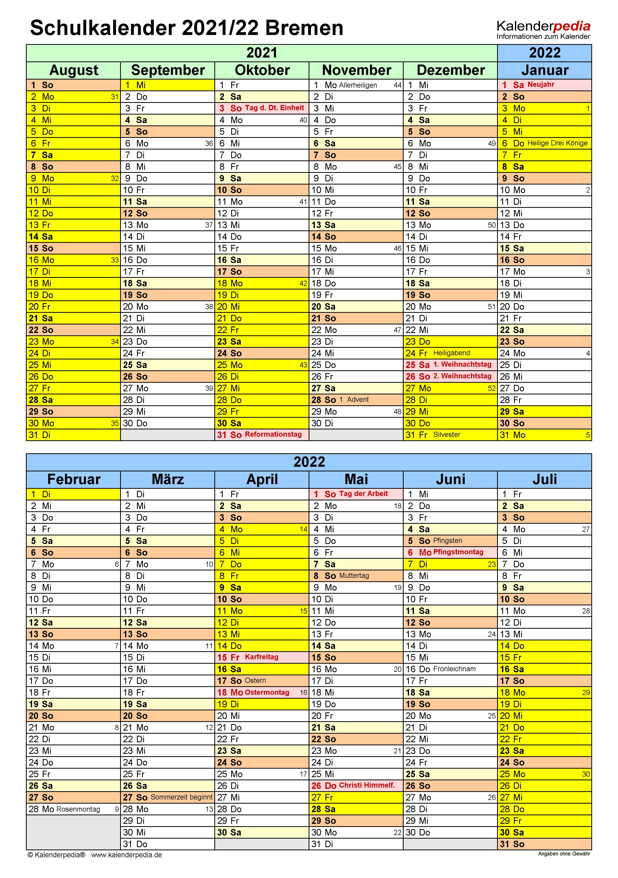 Schulkalender 2021/2022 Bremen für PDF