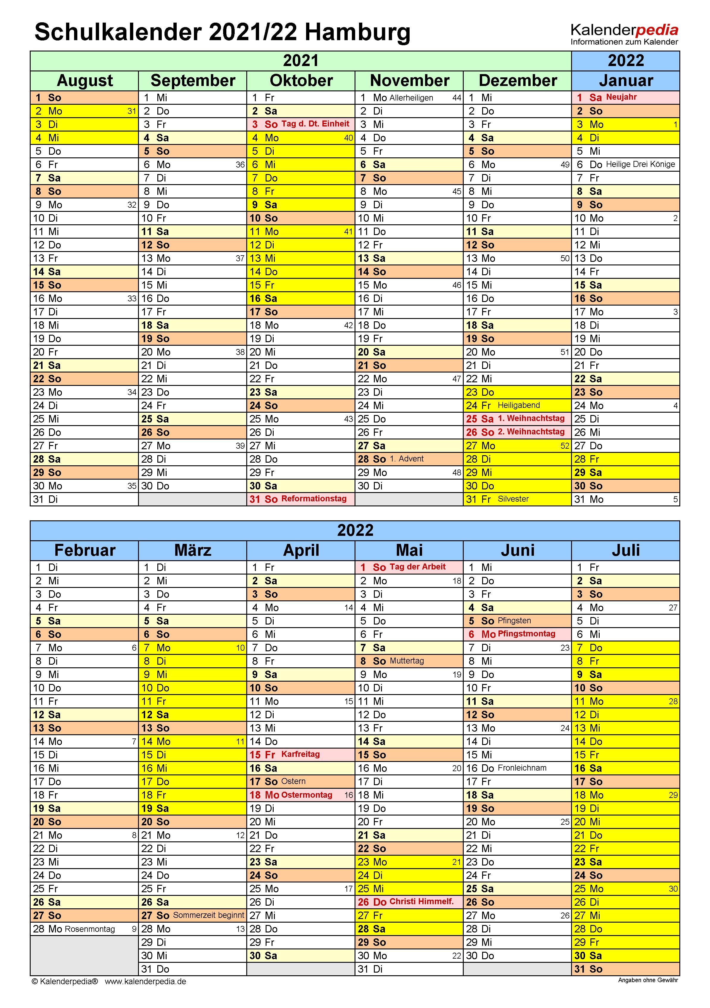 Schulkalender 2021/2022 Hamburg für PDF