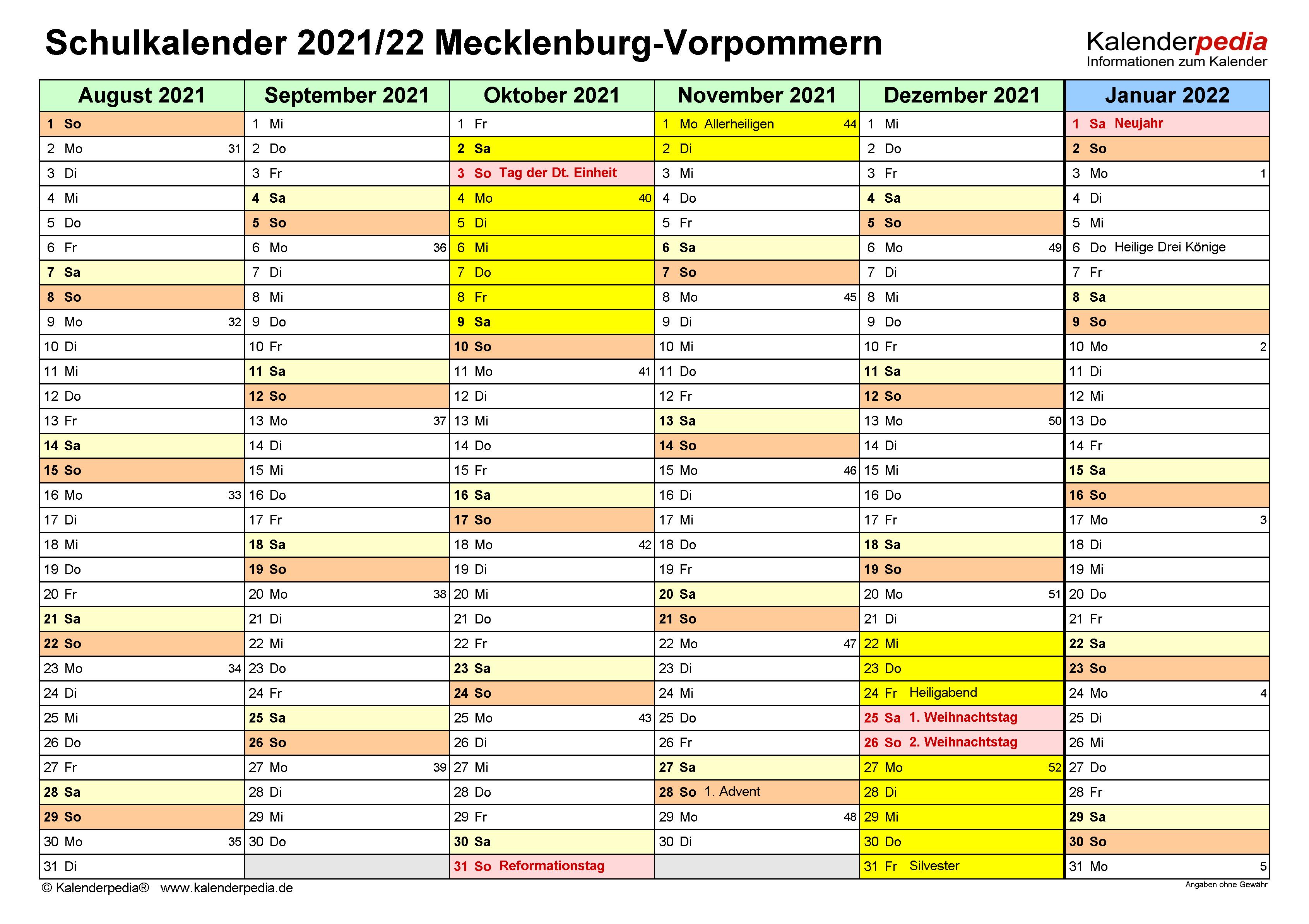Schulkalender 2021/2022 Mecklenburg-Vorpommern für Excel